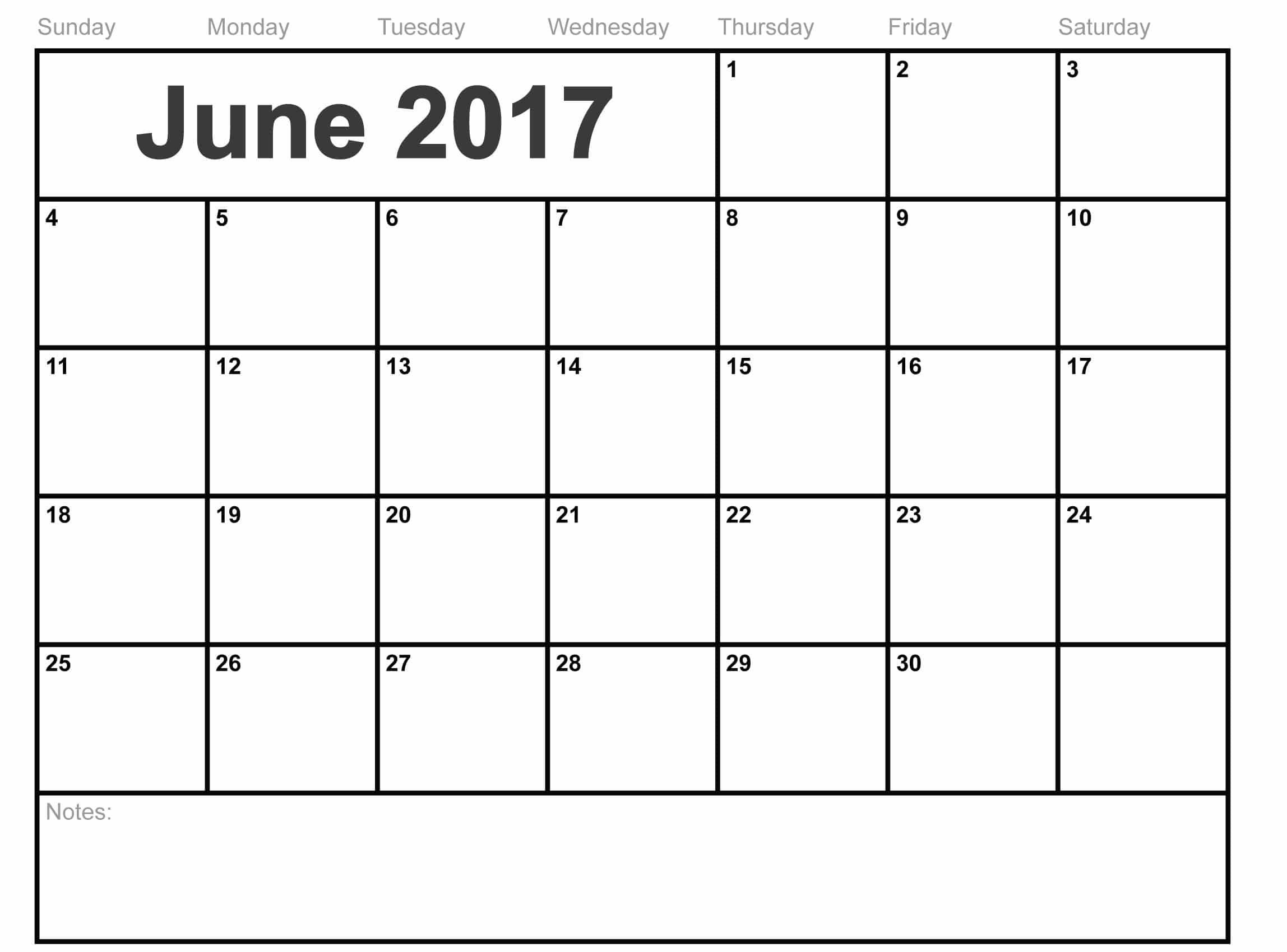 June 2017 Printable Calendar With Holidays USA Chart