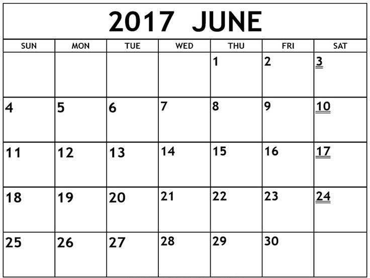 June 2017 Printable Calendar With Holidays USA