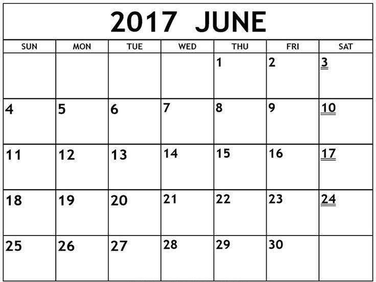June 2017 Printable Calendar With Holidays USA