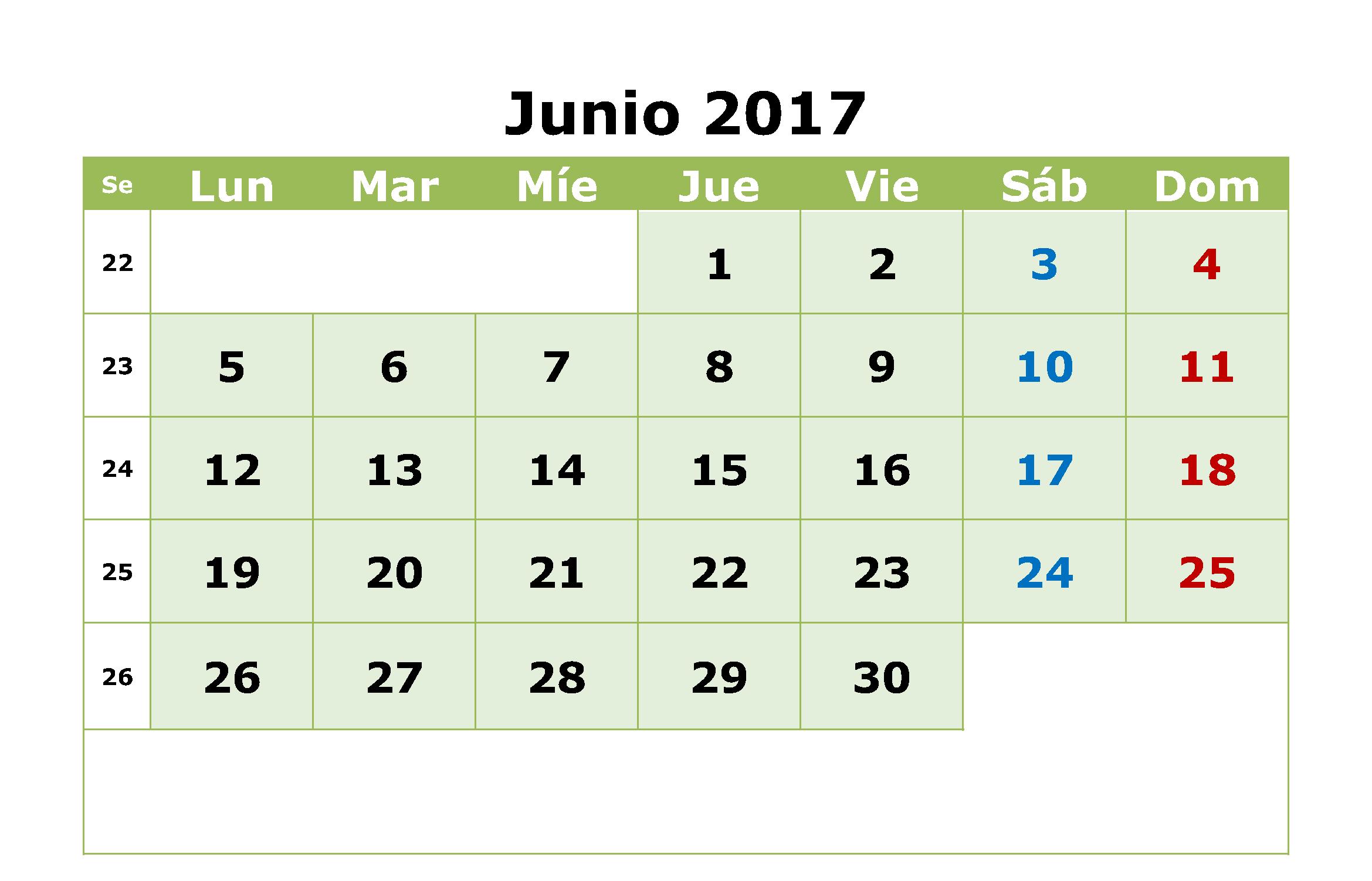 June 2017 Spanish Calendar Image