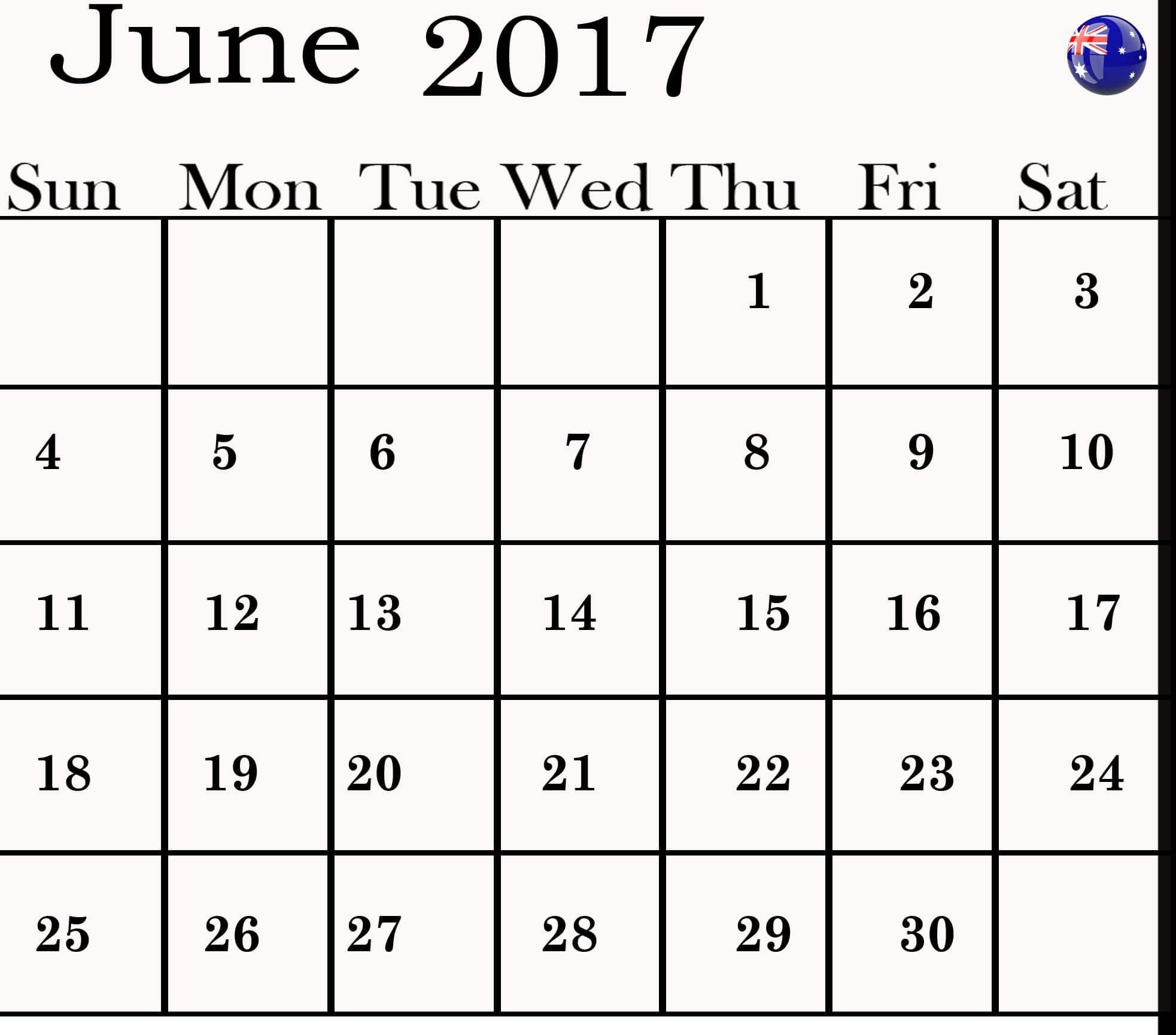 June 2017 calendar Australia Image