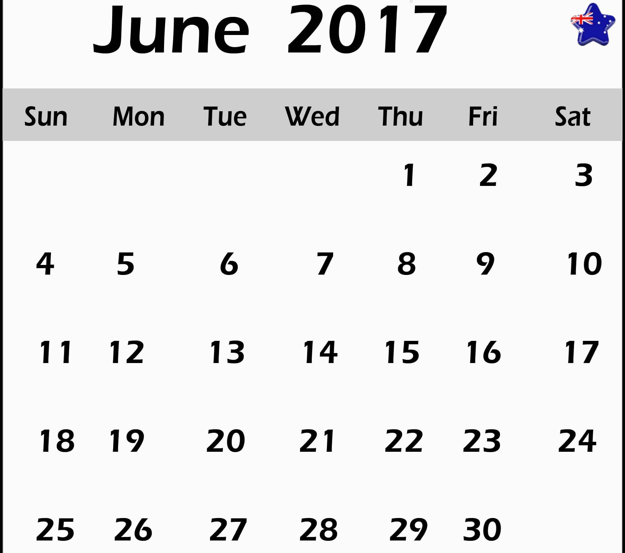 June 2017 calendar Australia