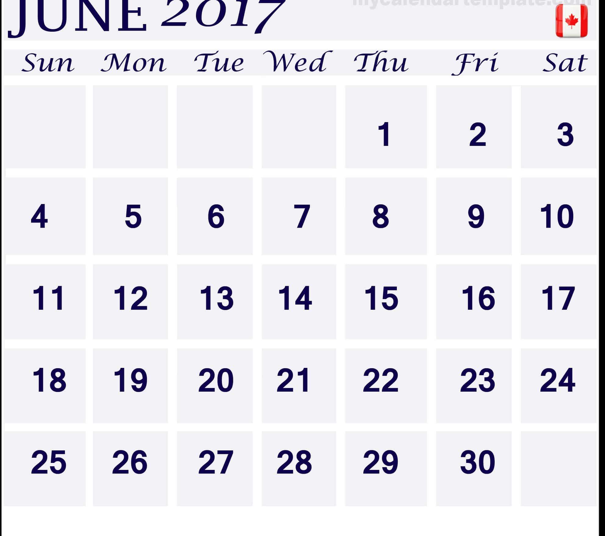 June 2017 calendar Canada Image