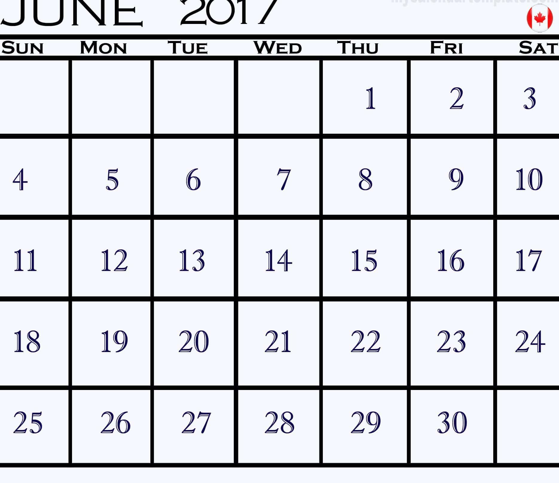 June 2017 calendar Canada