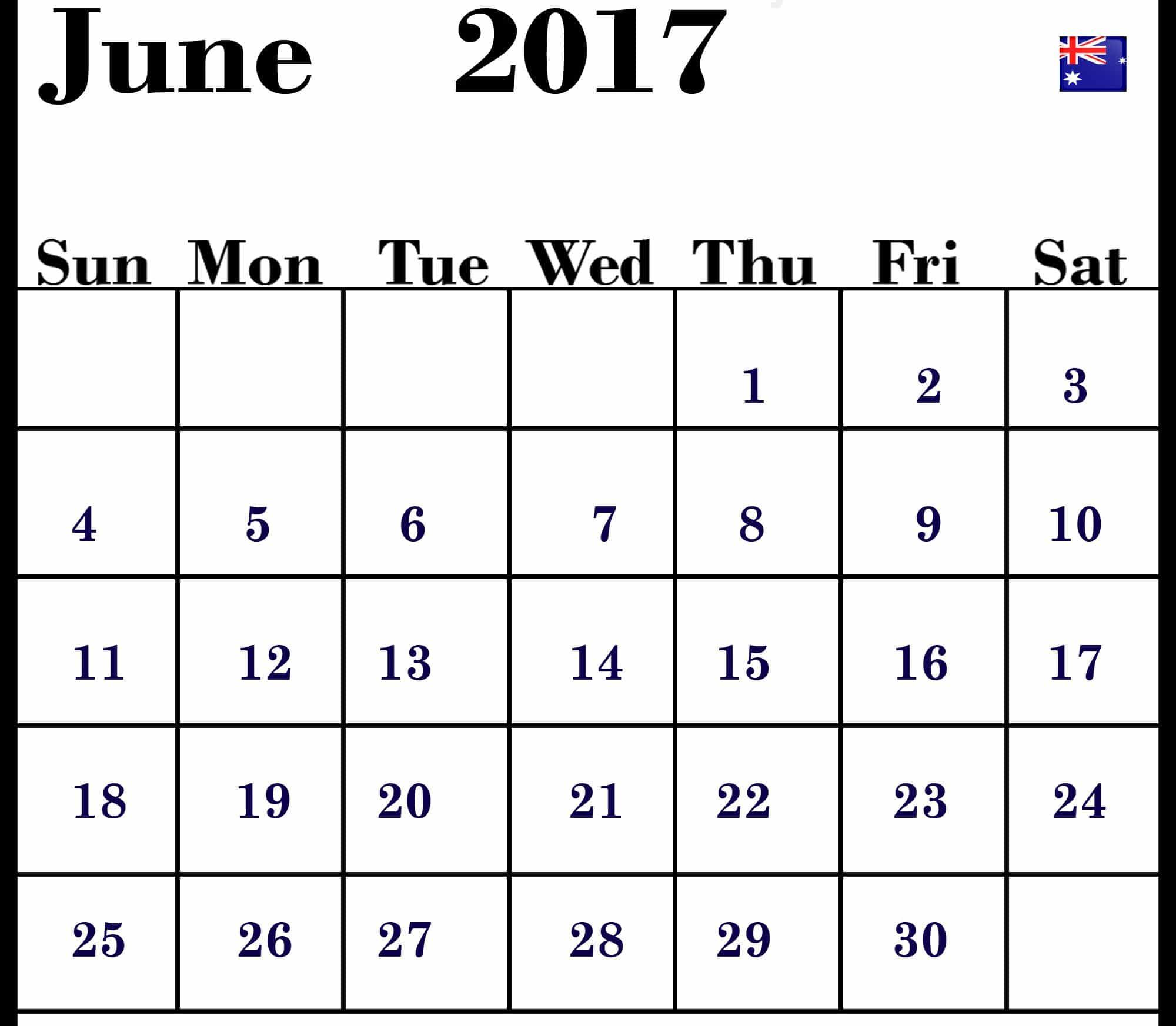 June 2017 calendar Chart Australia