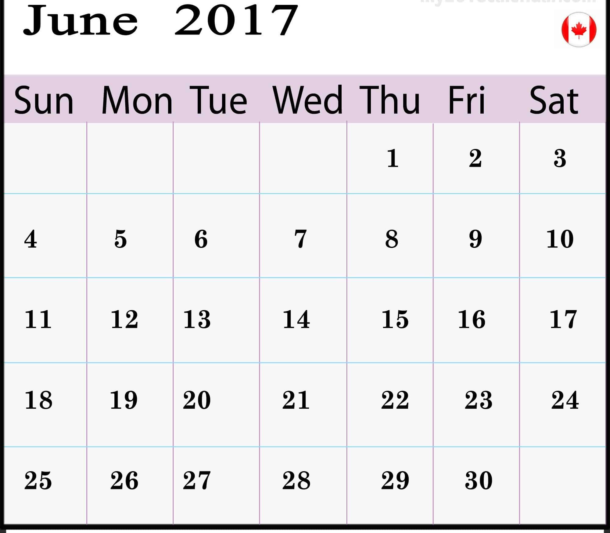 June 2017 calendar Chart Canada