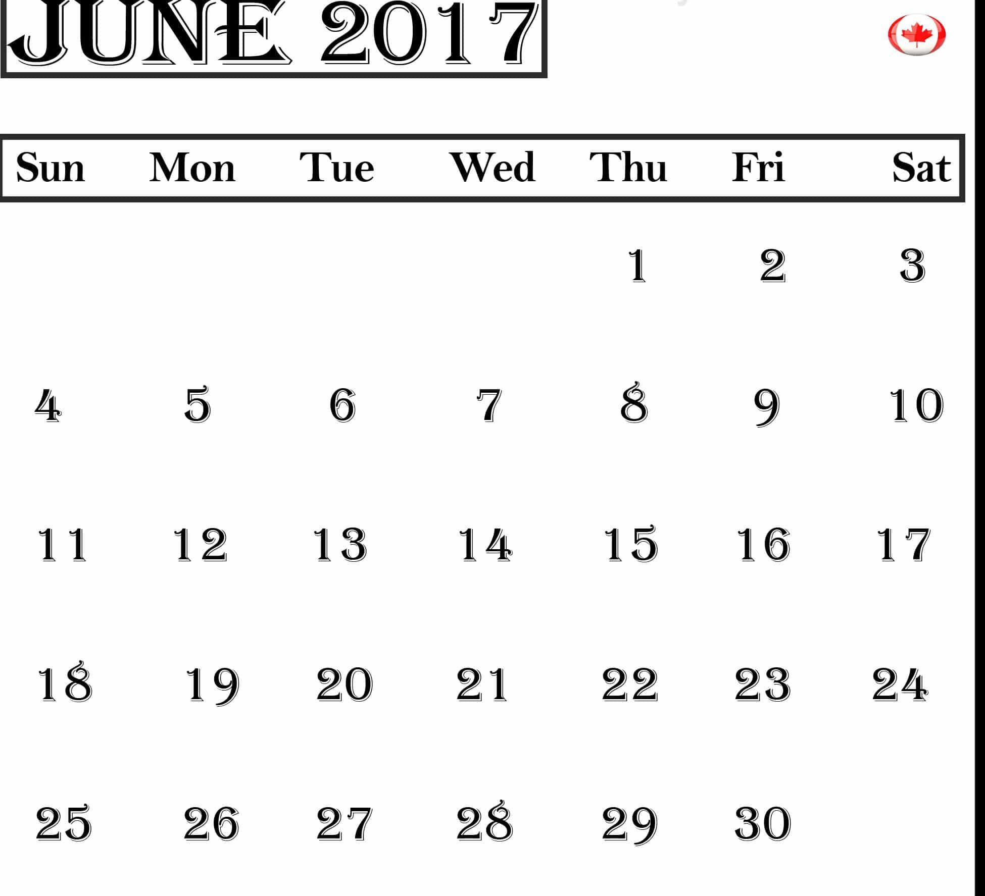 June 2017 calendar Free Canada