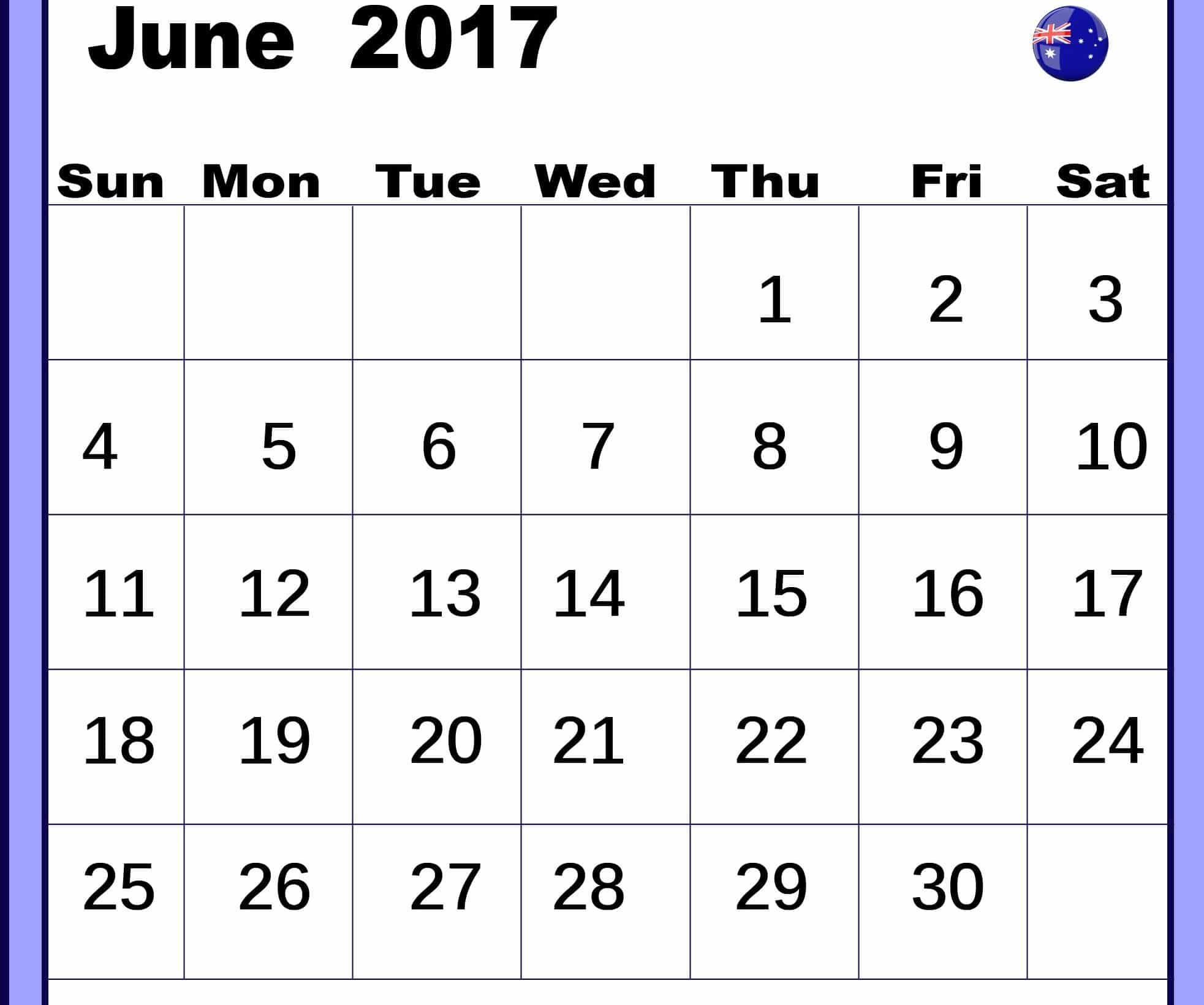 June 2017 calendar Image Australia
