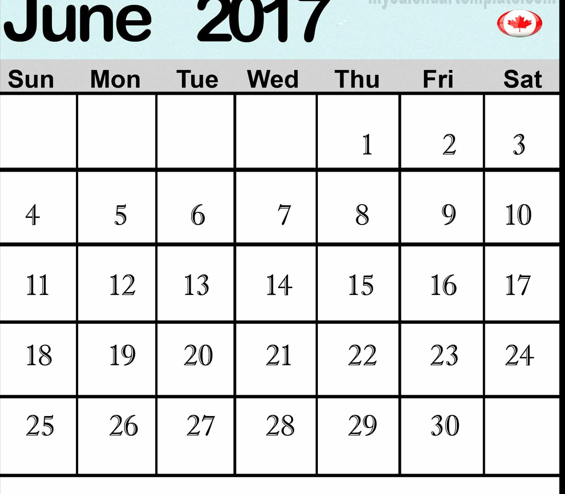 June 2017 calendar Image Canada