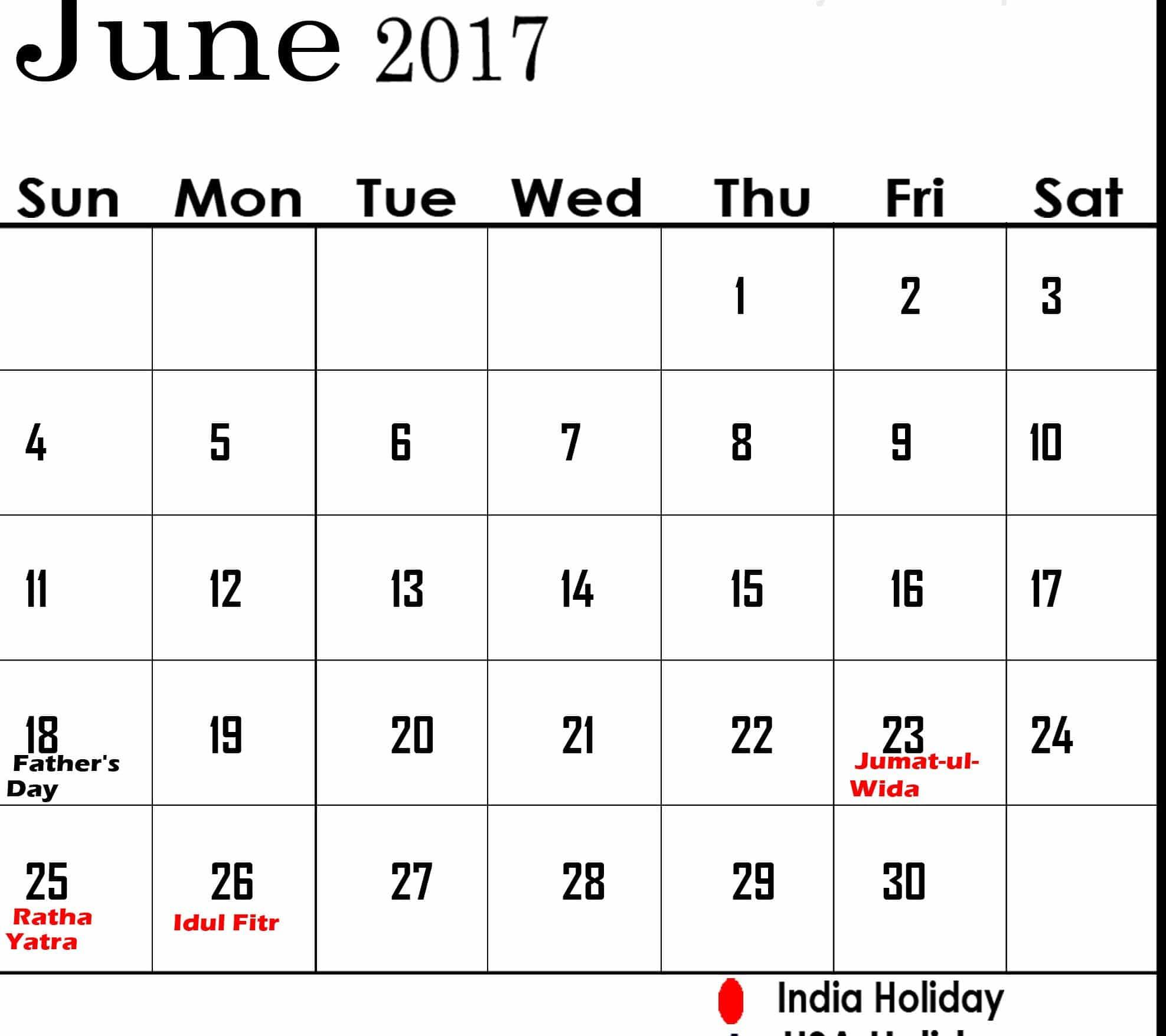 June 2017 calendar Online