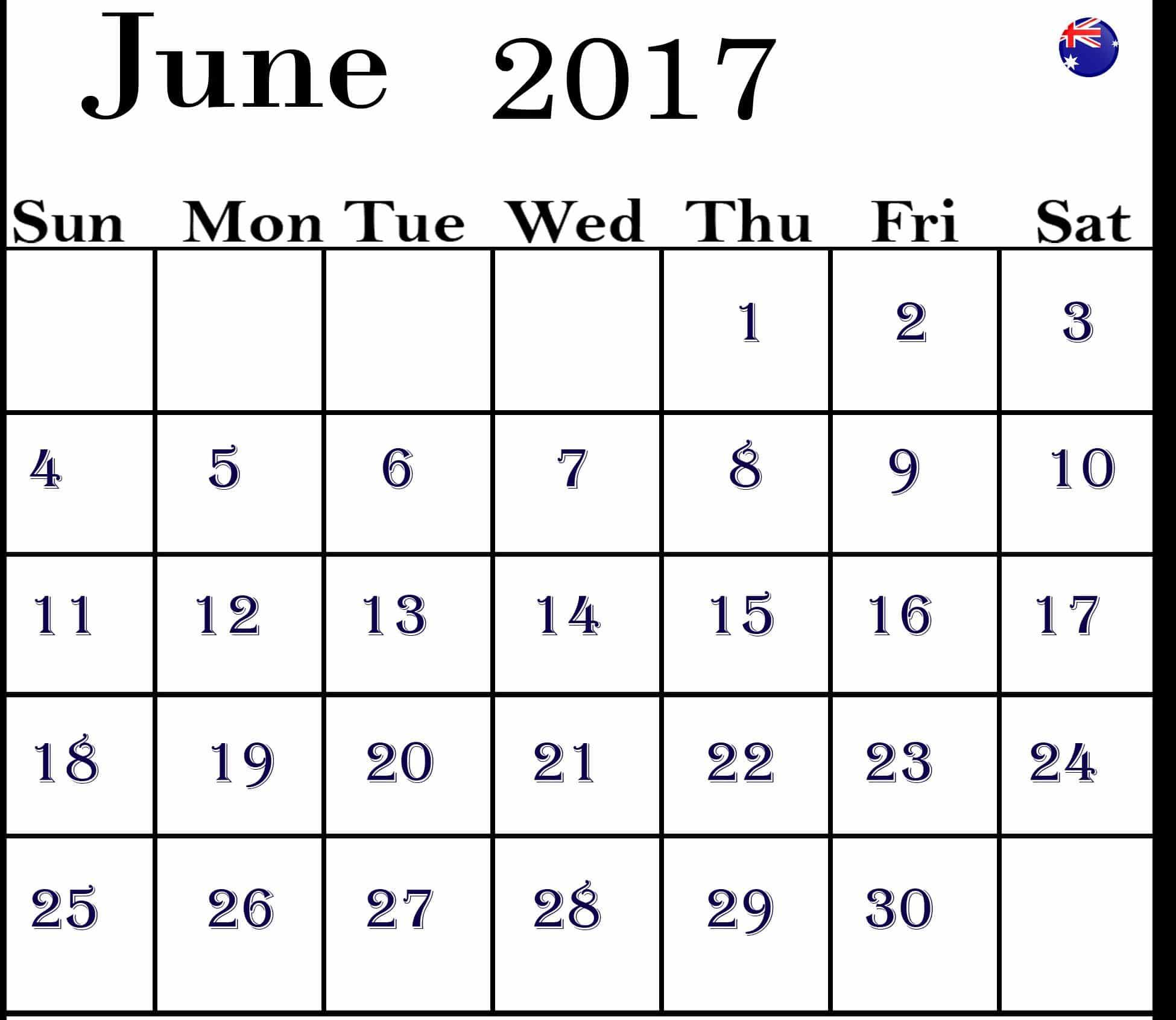 June 2017 calendar Photo Australia