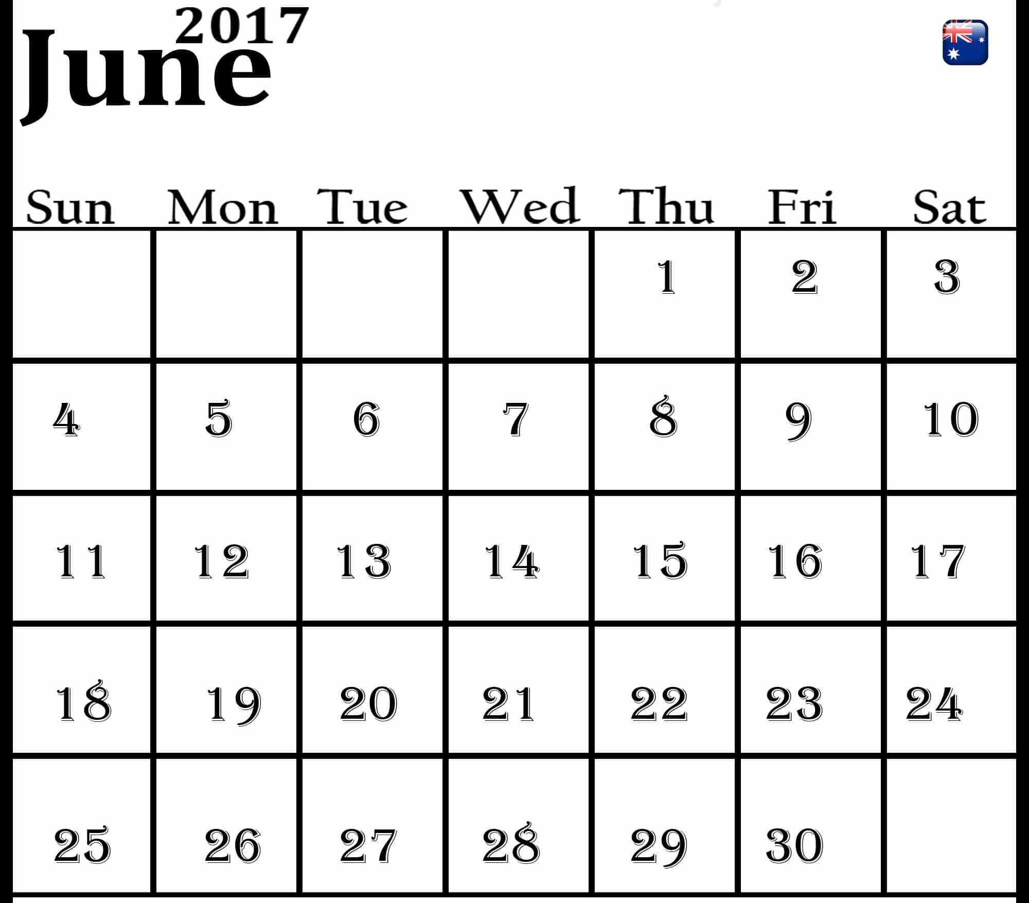 June 2017 calendar Pic Australia