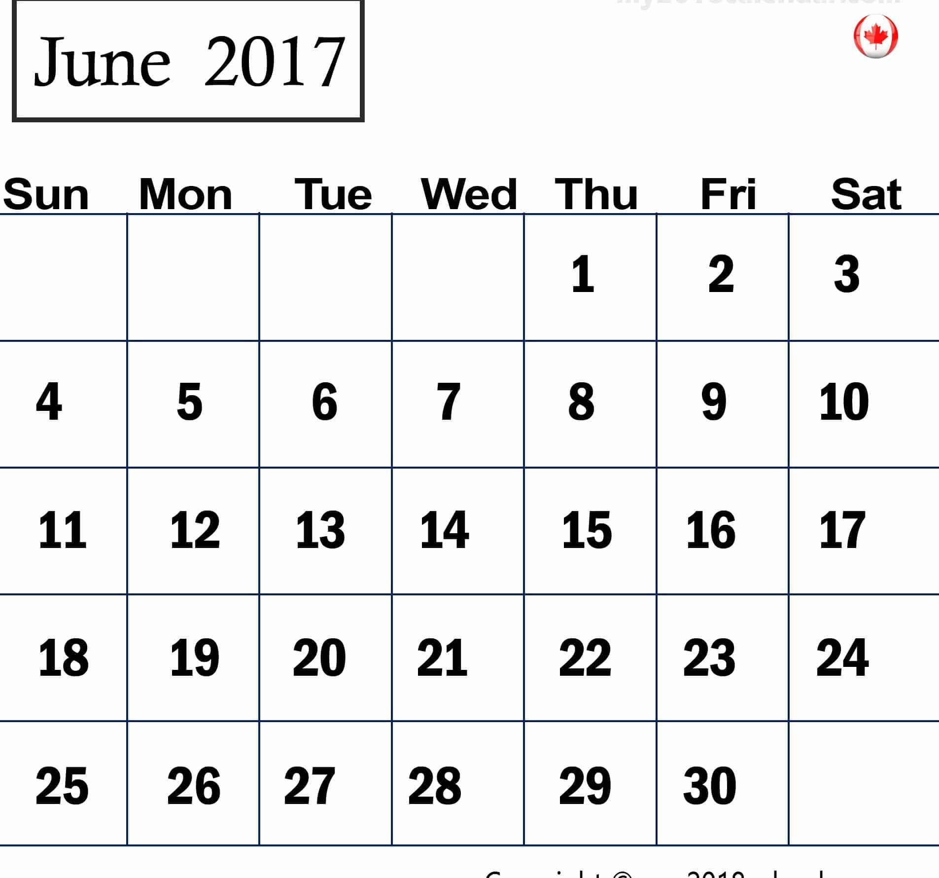 June 2017 calendar Pic Canada