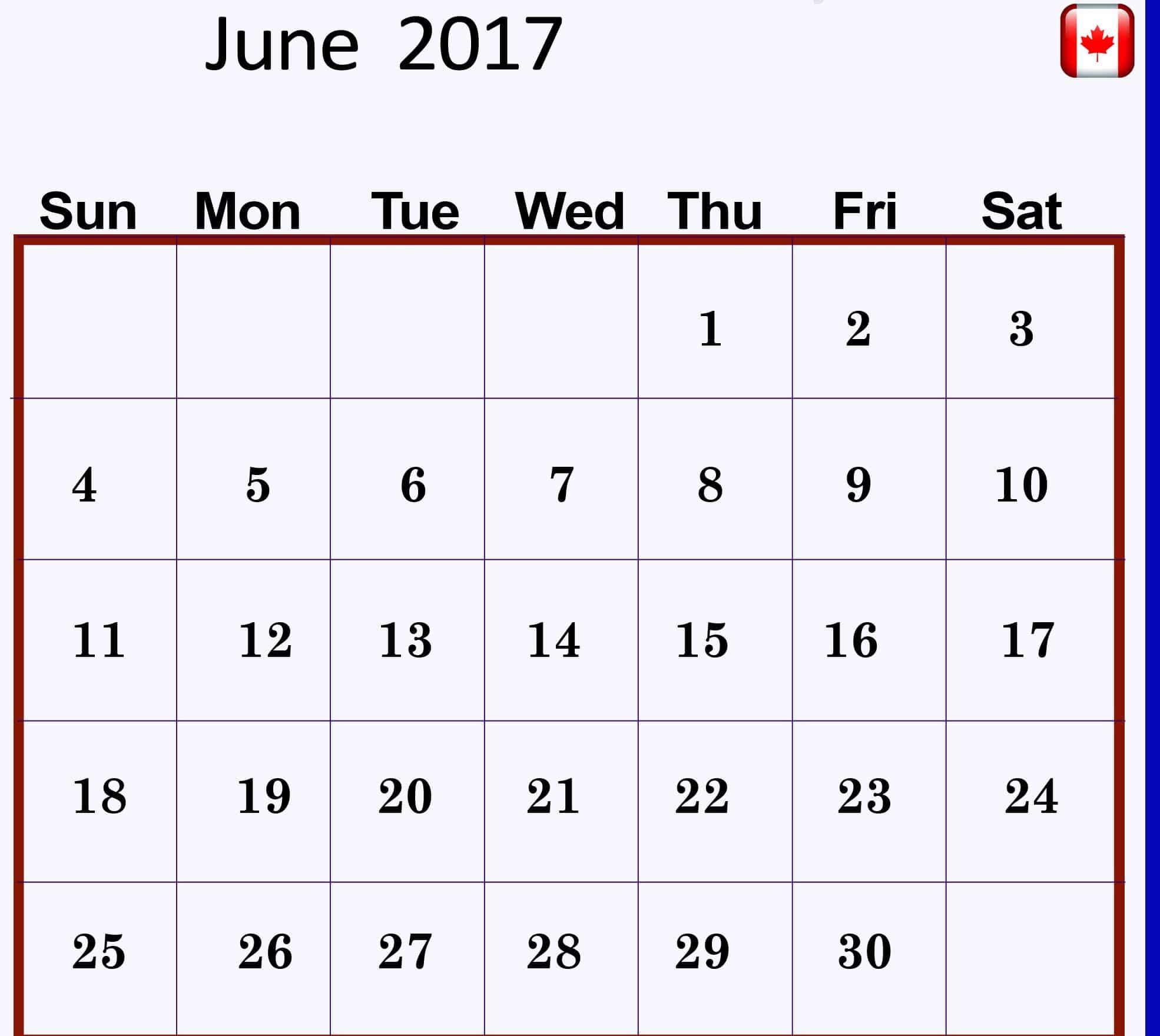 June 2017 calendar Picture Canada