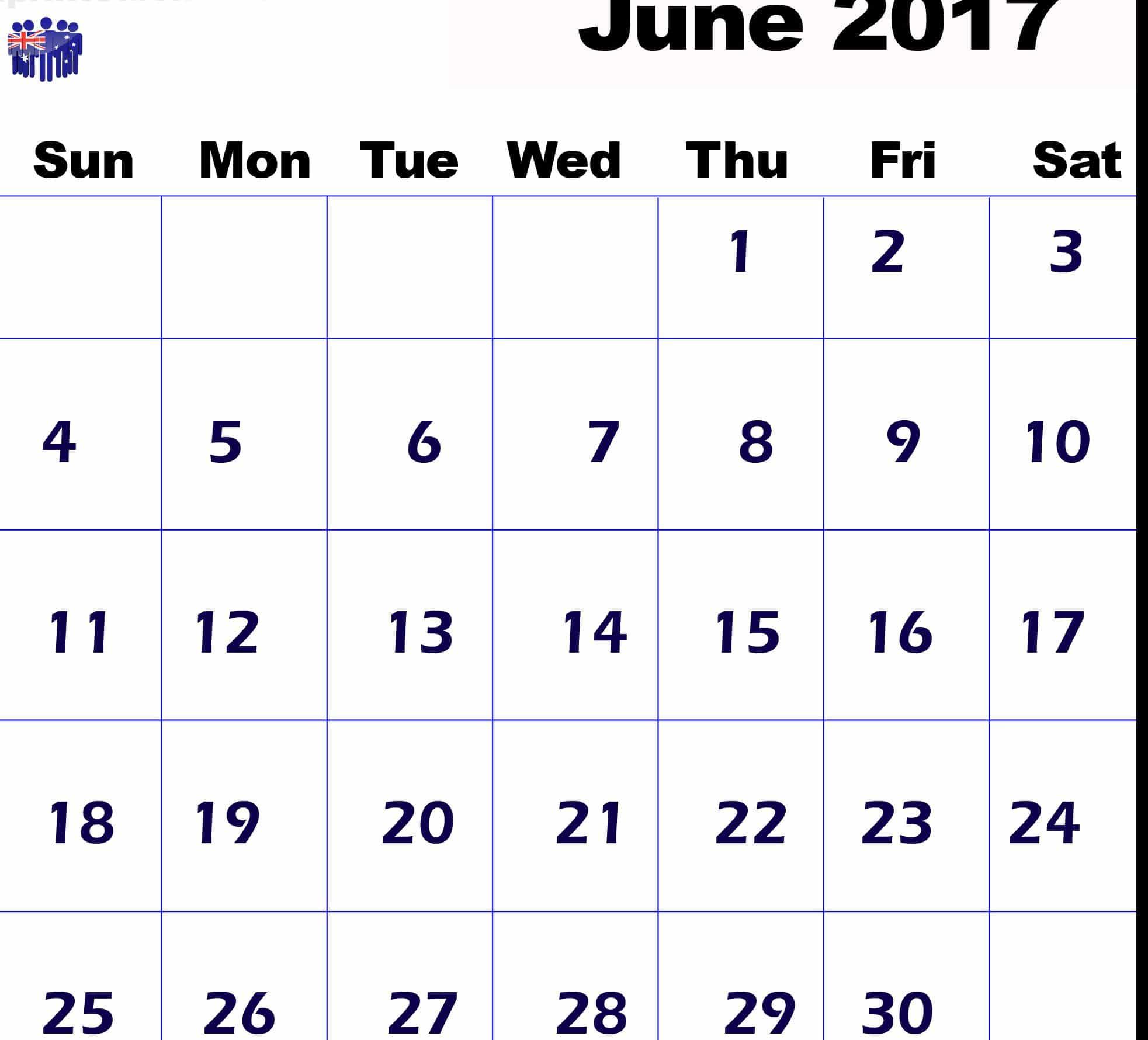 June 2017 calendar Template Australia