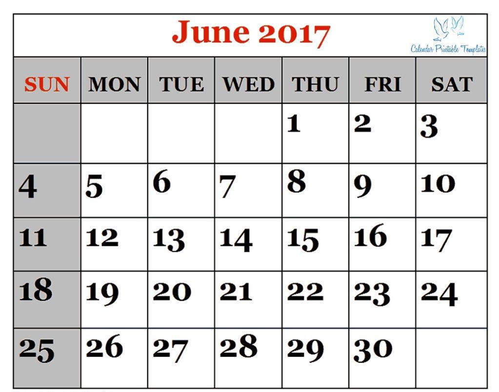 June Calendar 2017 Excel,word,pdf