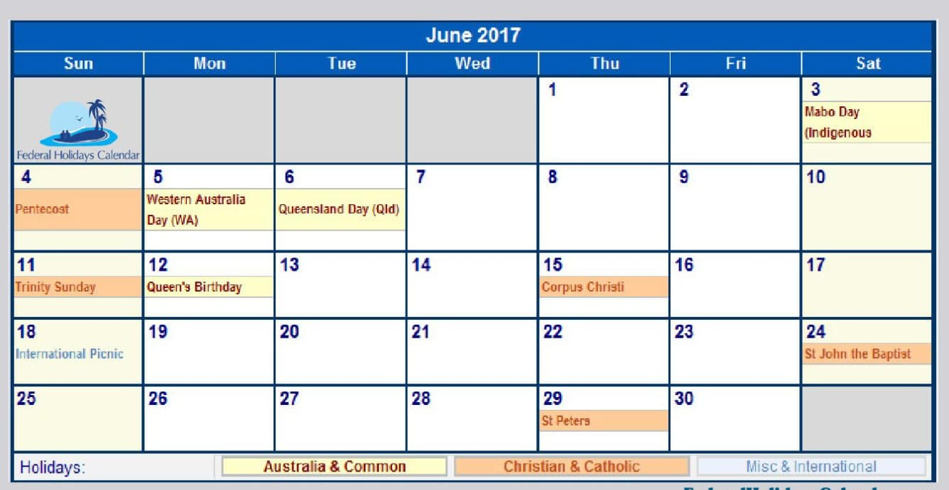 June Calendar 2017 UK Download