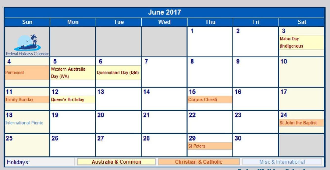 June Calendar 2017 UK Download