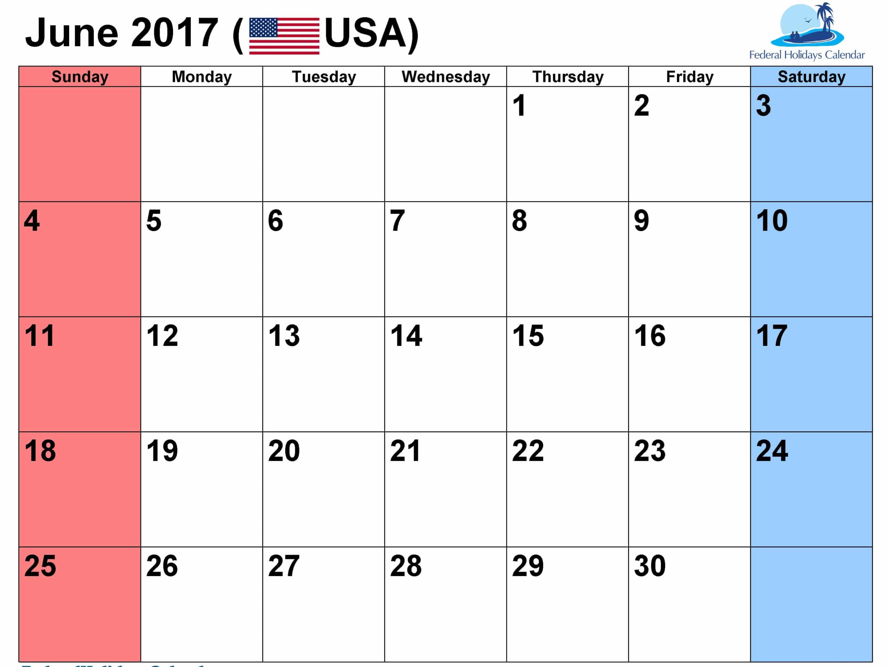 June 2017 calendar USA