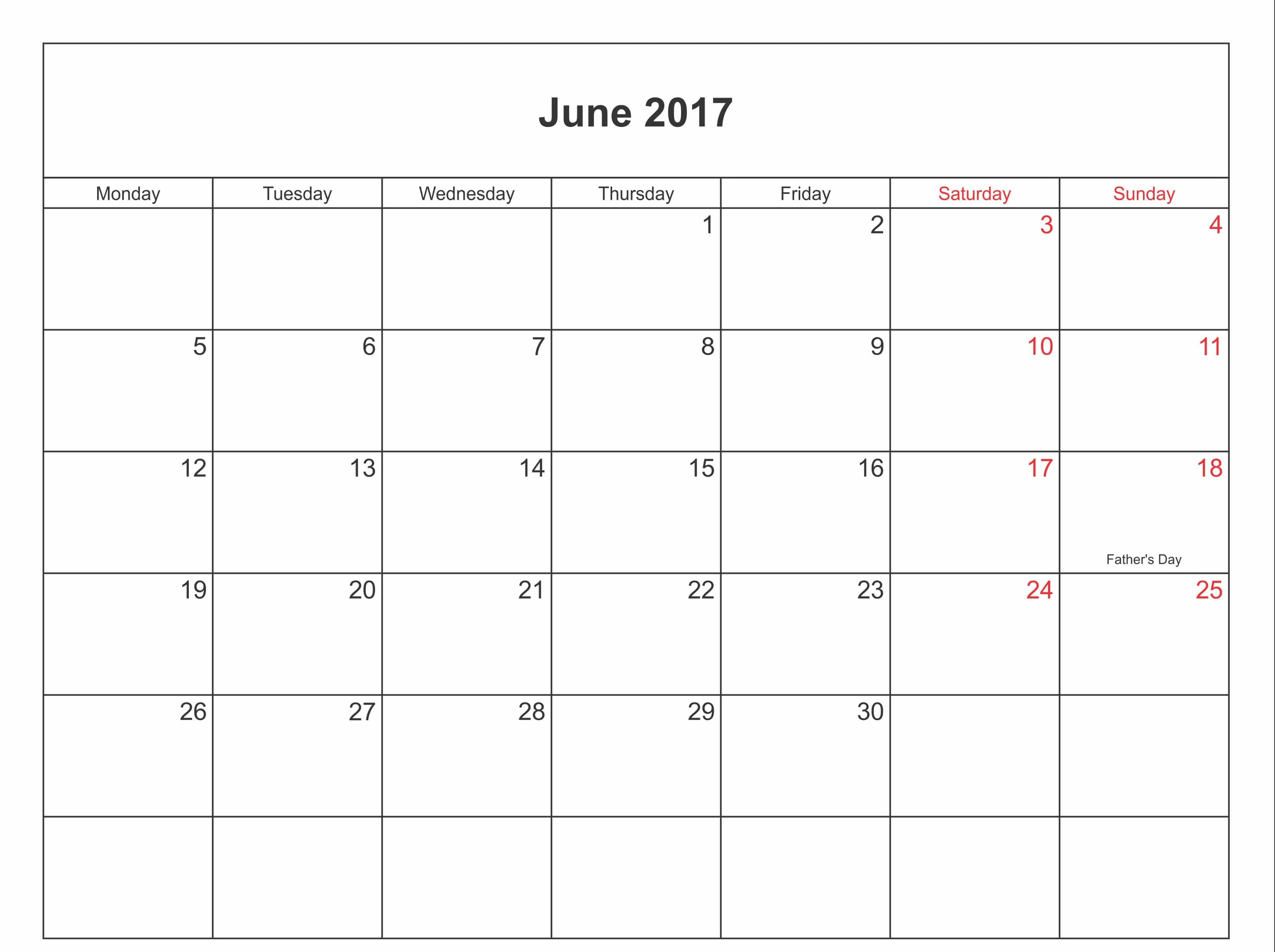 June Calendar 2017 with Holidays In UK