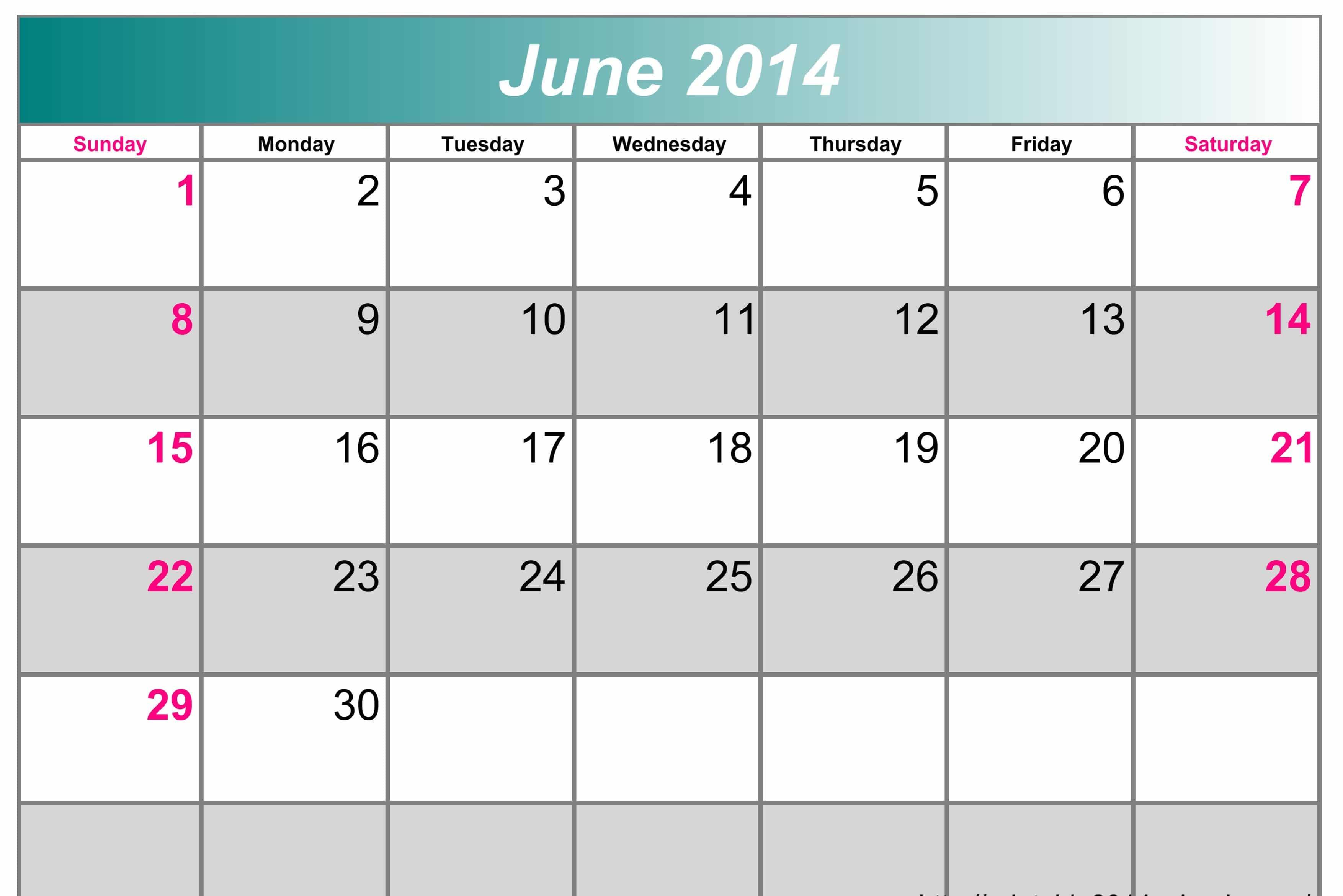 June Calendar for 2017 Template