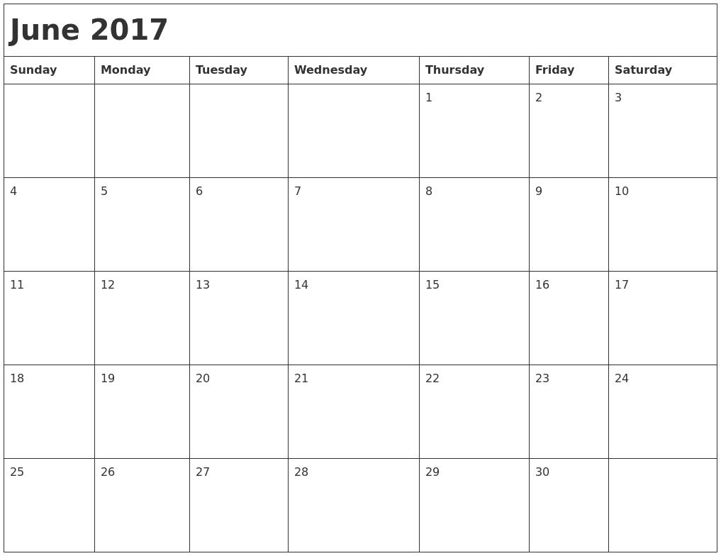 June Month 2017 Clip art Images Download