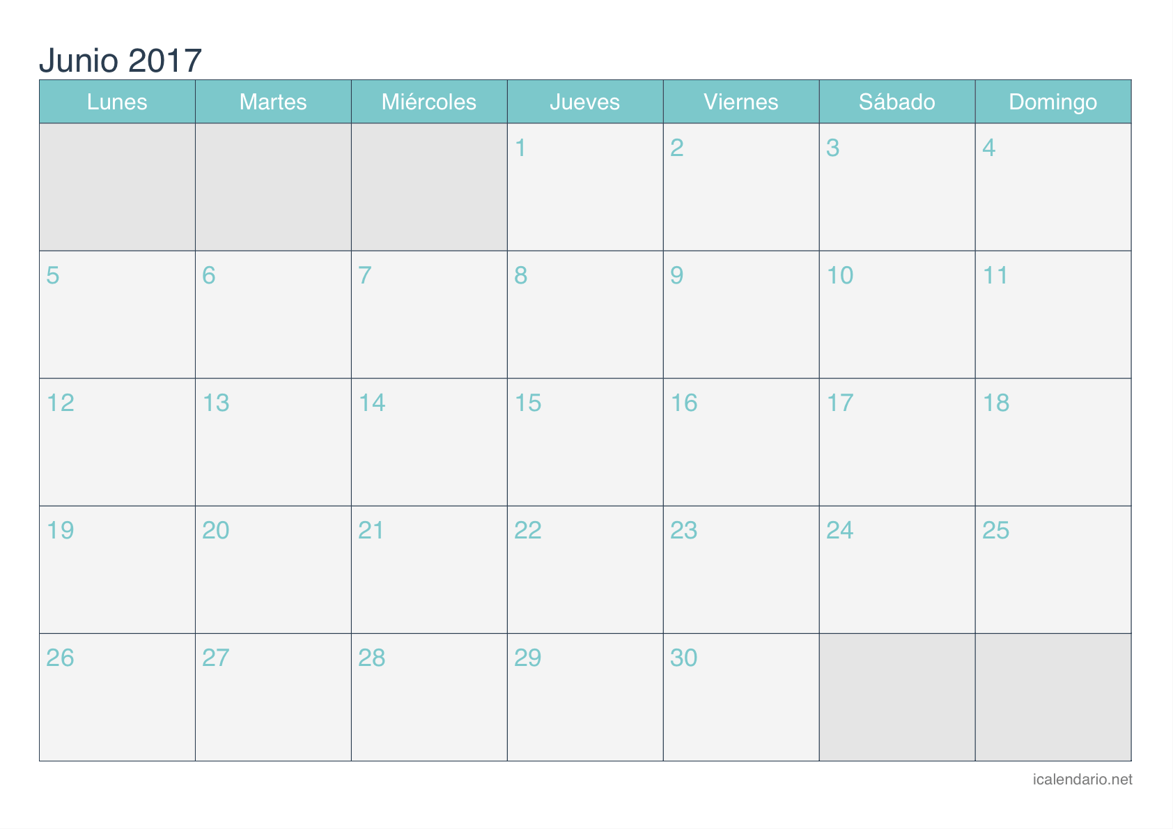 June Monthly 2017 Calendar Spanish