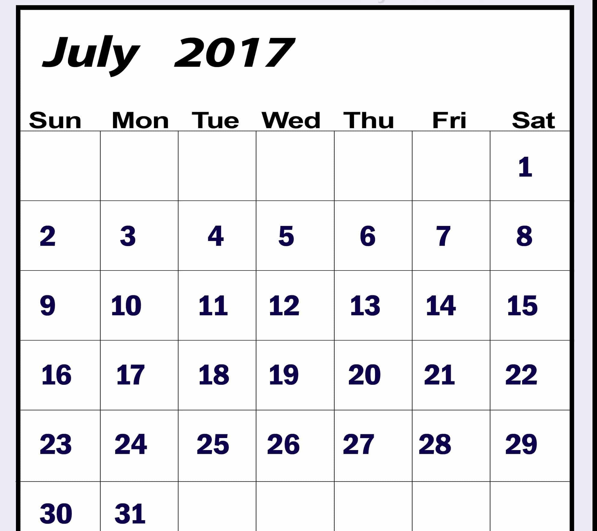 Monthly Calendar July 2017