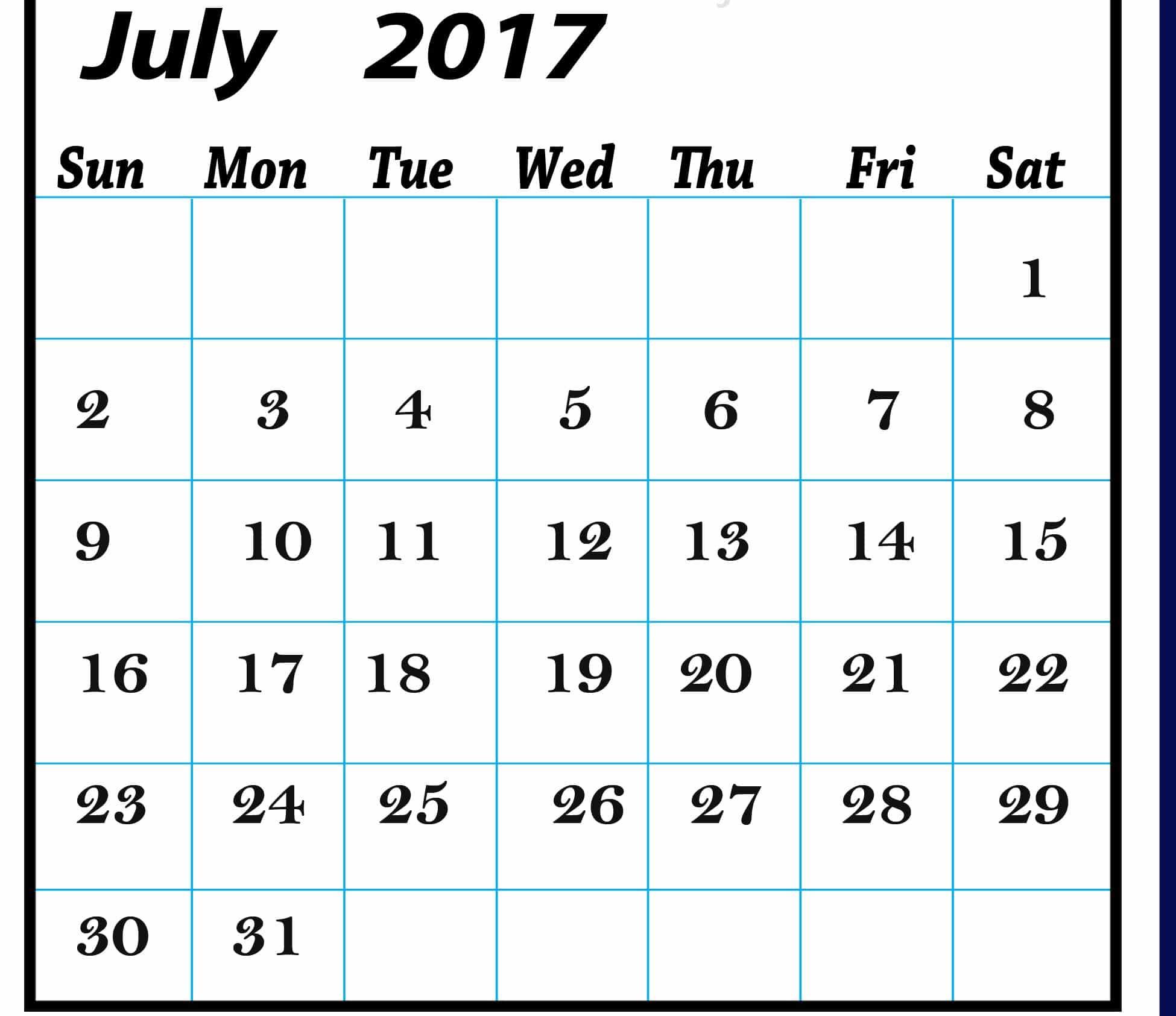 Monthly Calendar July 2017