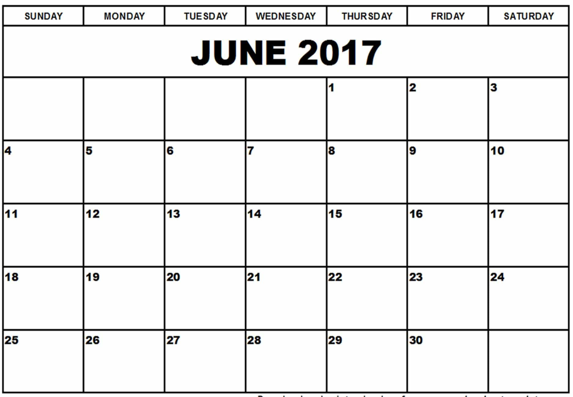 Monthly Calendar June 2017 Chart