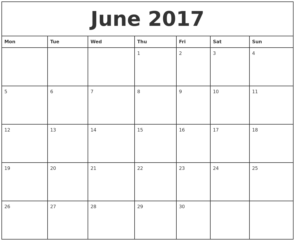 Monthly Calendar June 2017 To Print