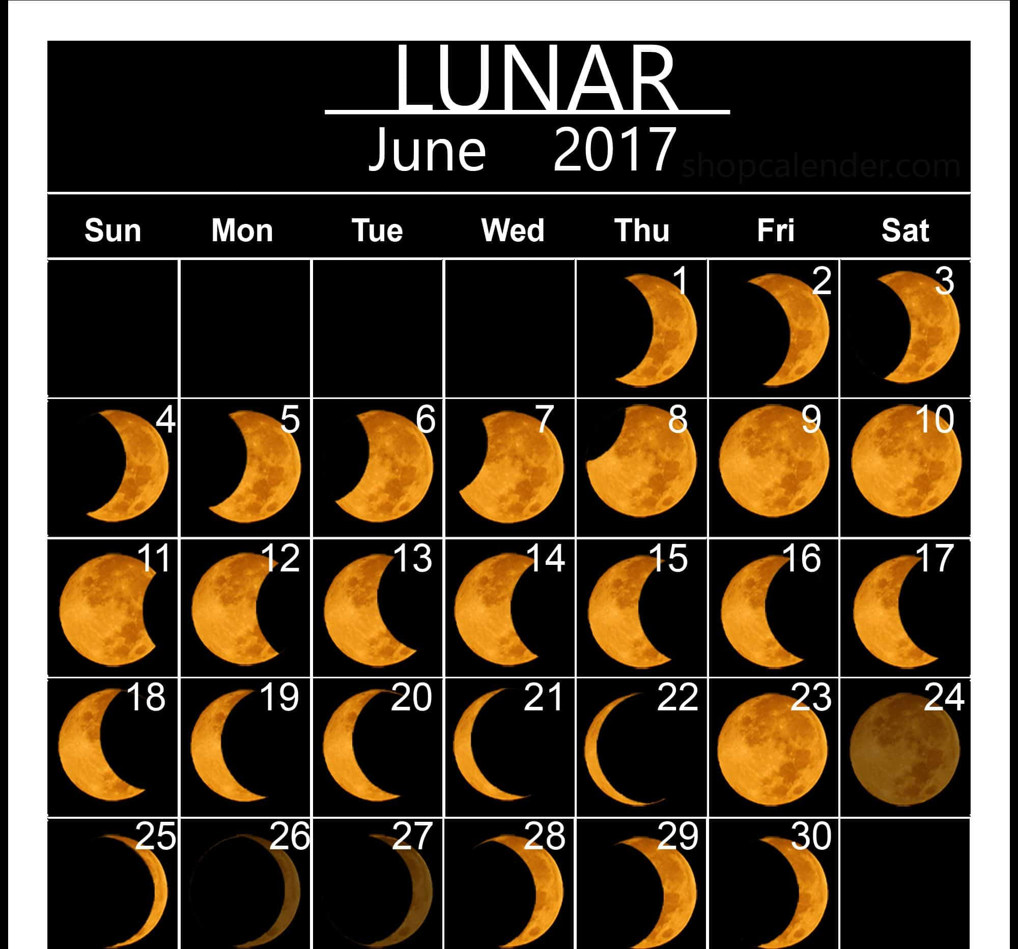 Monthly June 2017 Image Moon Phases
