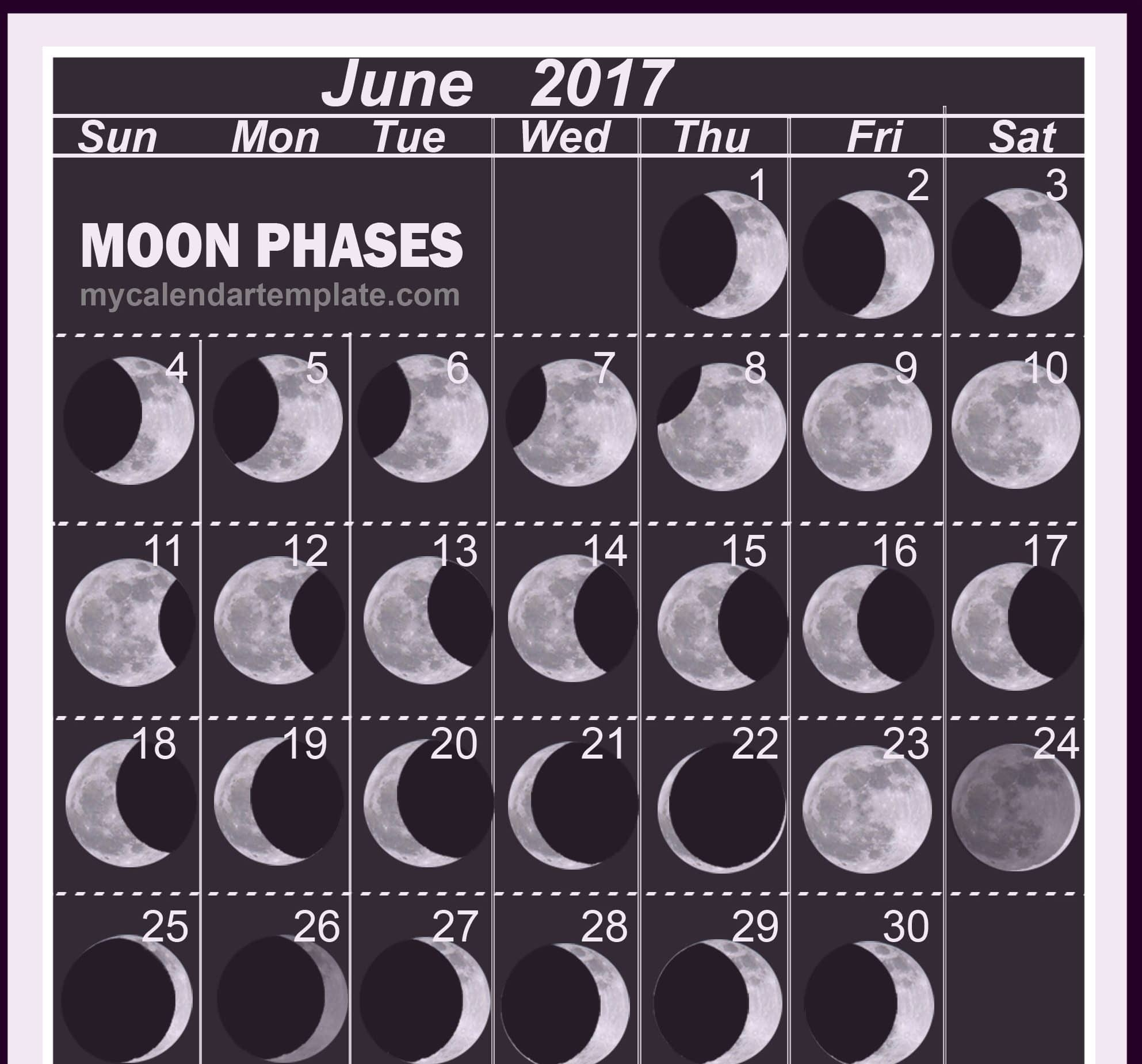 Monthly June 2017 Lunar Calendar Image