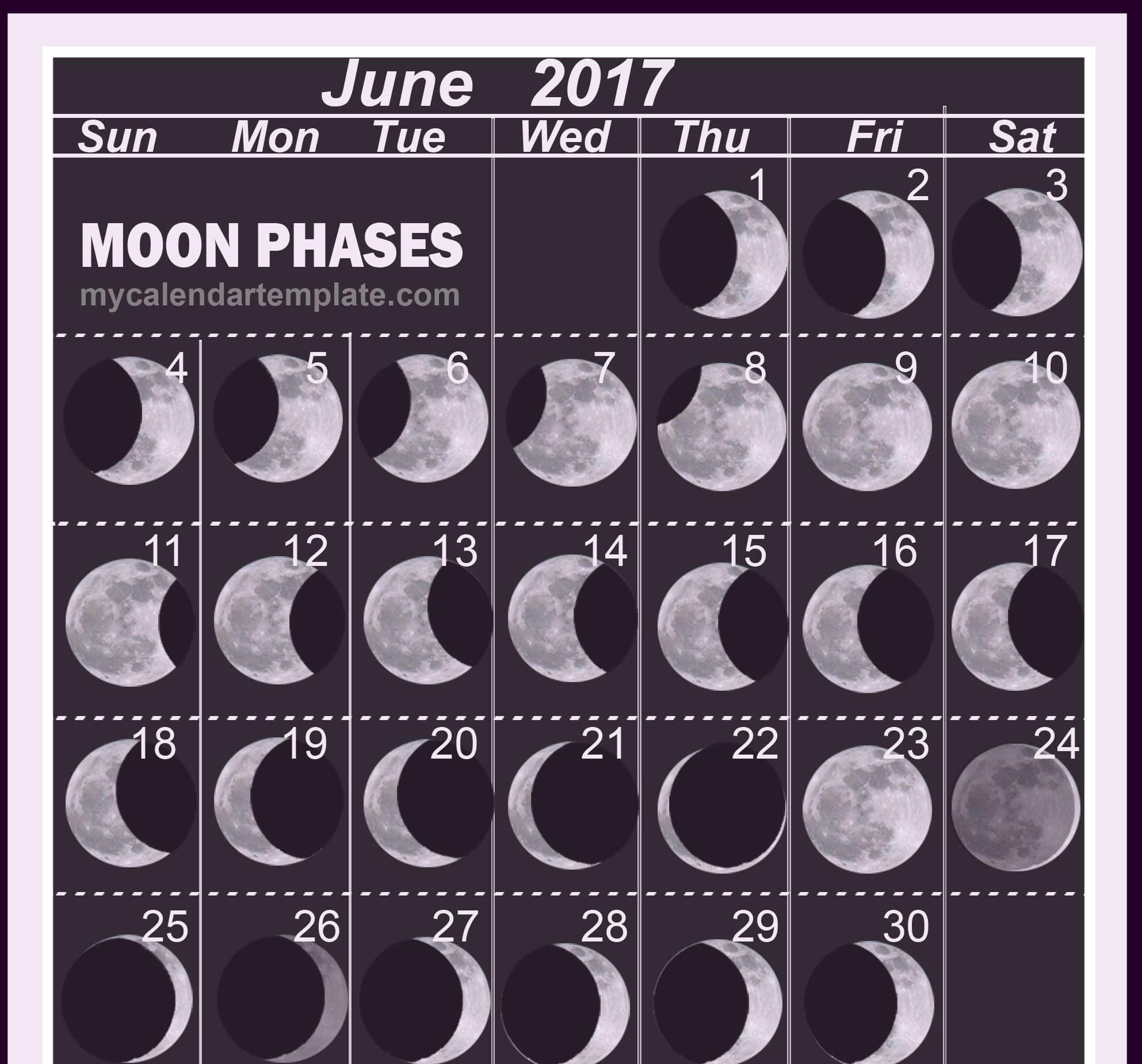 Monthly June 2017 Lunar Calendar Image
