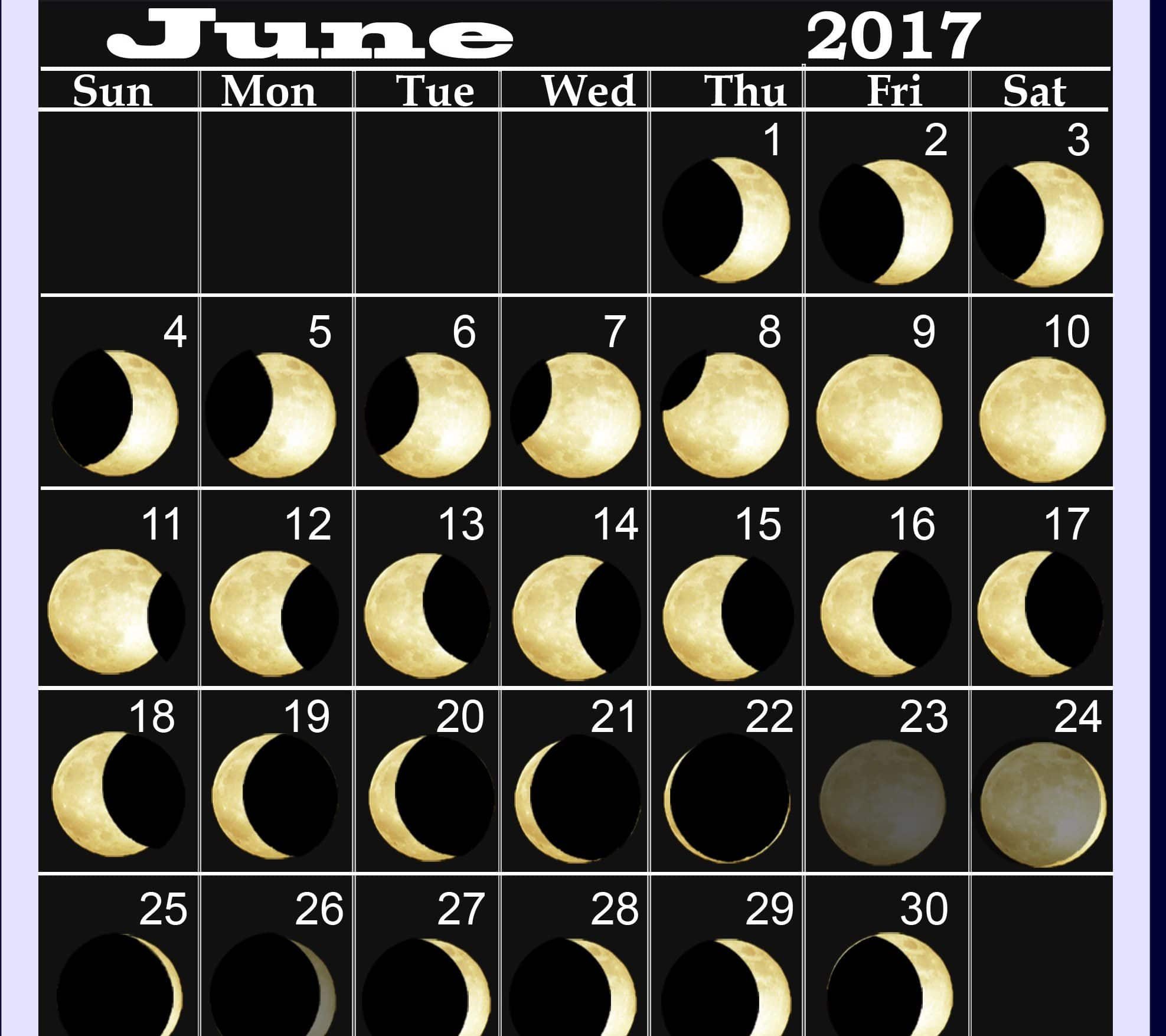 Monthly June 2017 Lunar Calendar Online