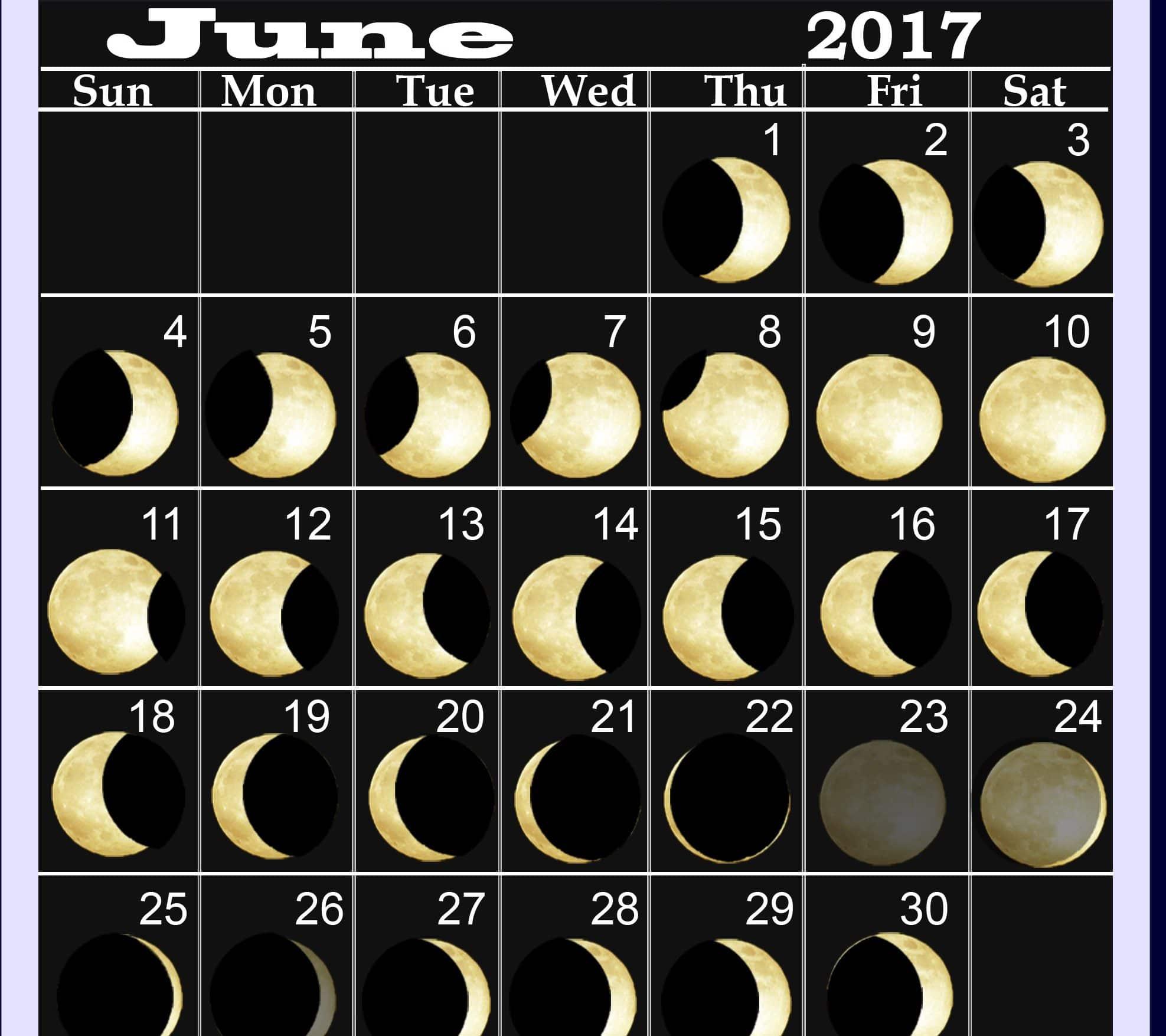 Monthly June 2017 Lunar Calendar Online