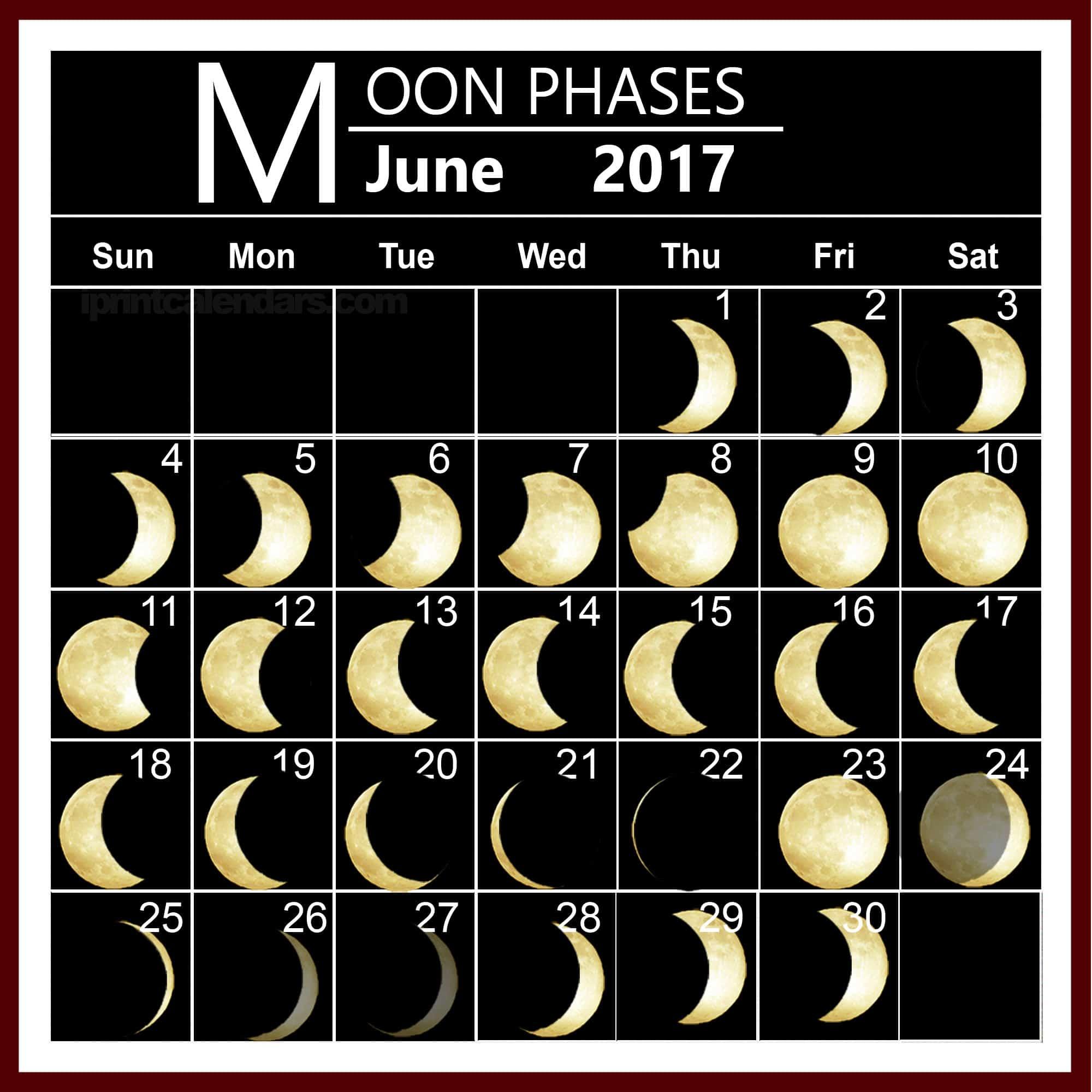 Monthly June 2017 Lunar Calendar Pic