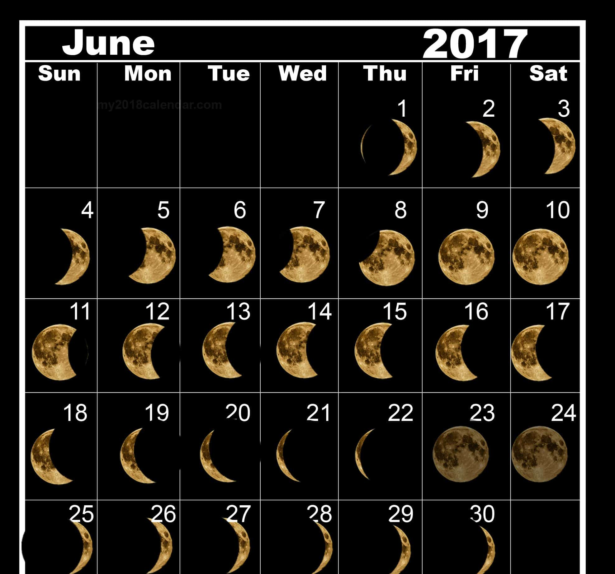 Monthly June 2017 Lunar Calendar