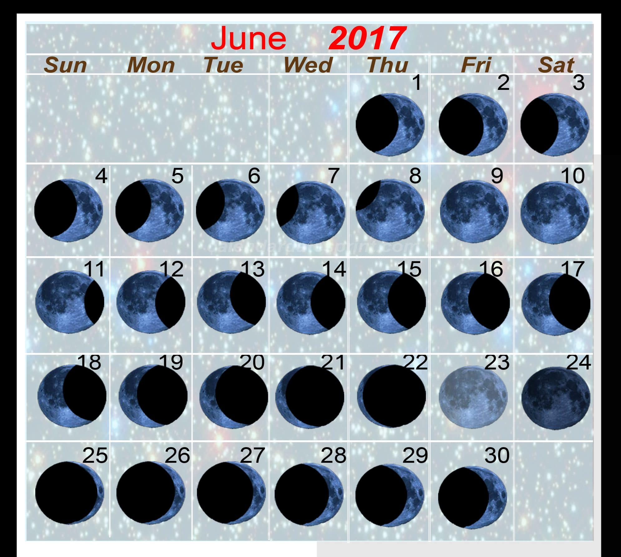 Monthly June 2017 Moon Phases Online