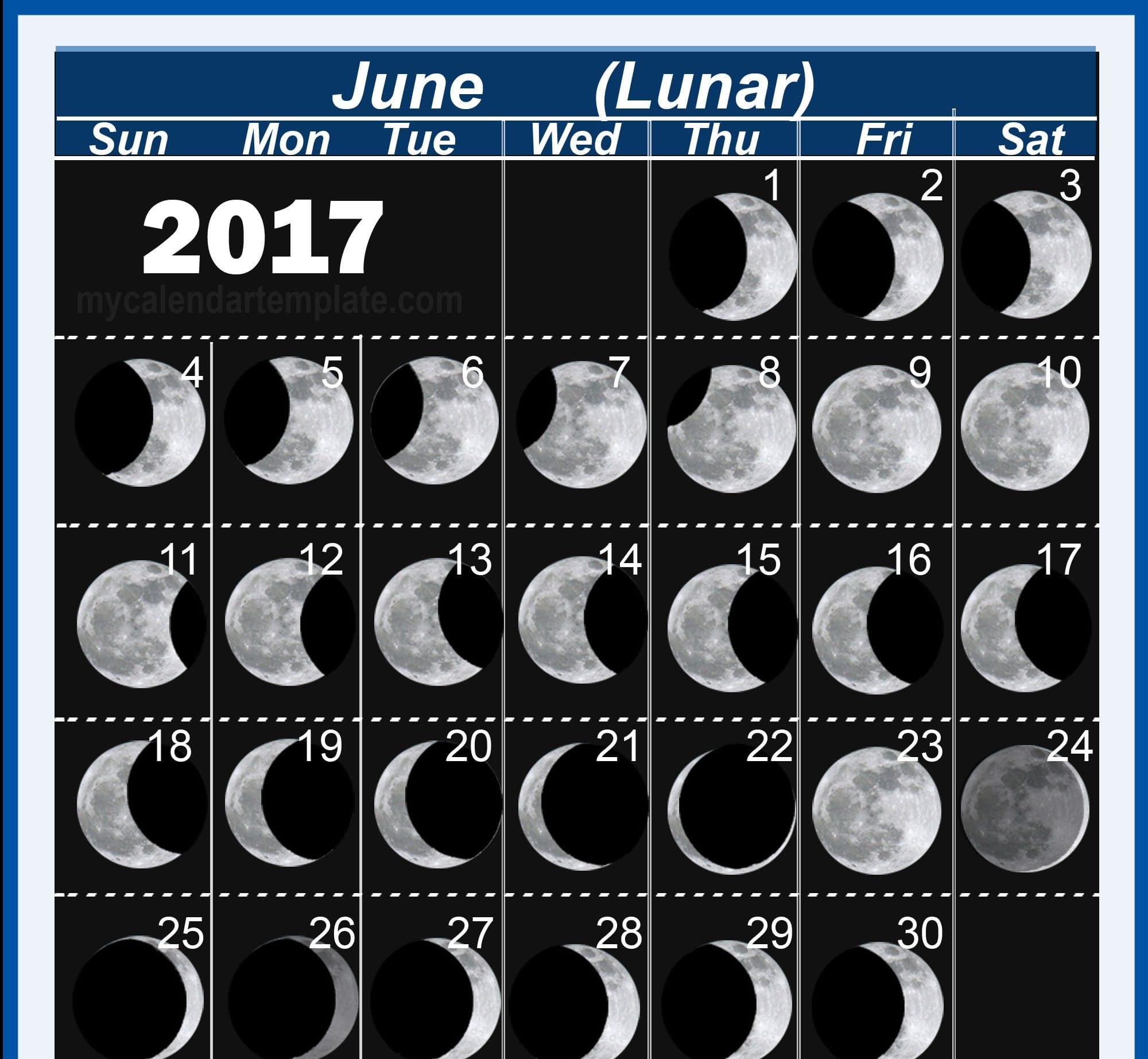 Monthly June 2017 Moon Phases