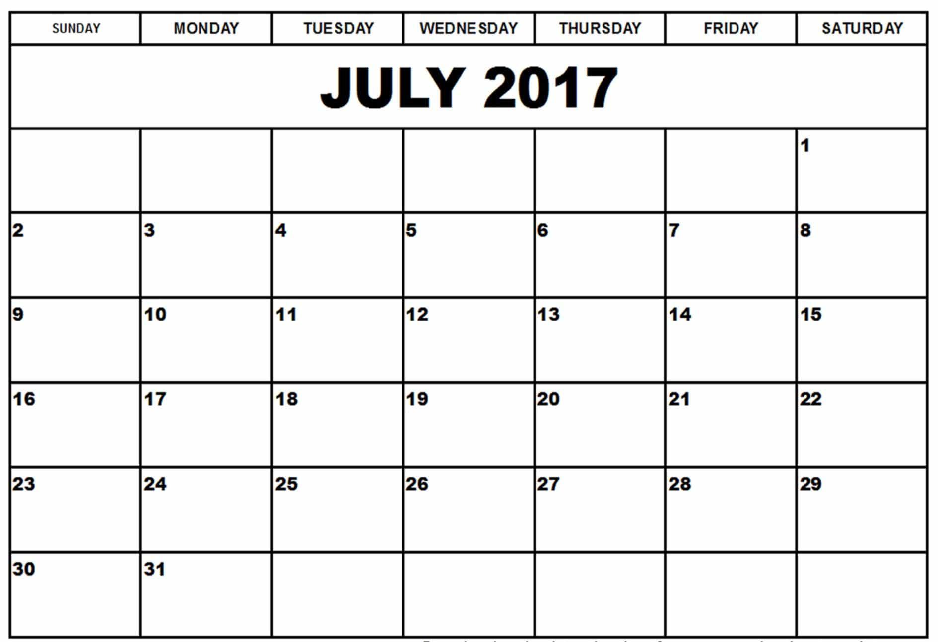 Calendar July 2017 Printable
