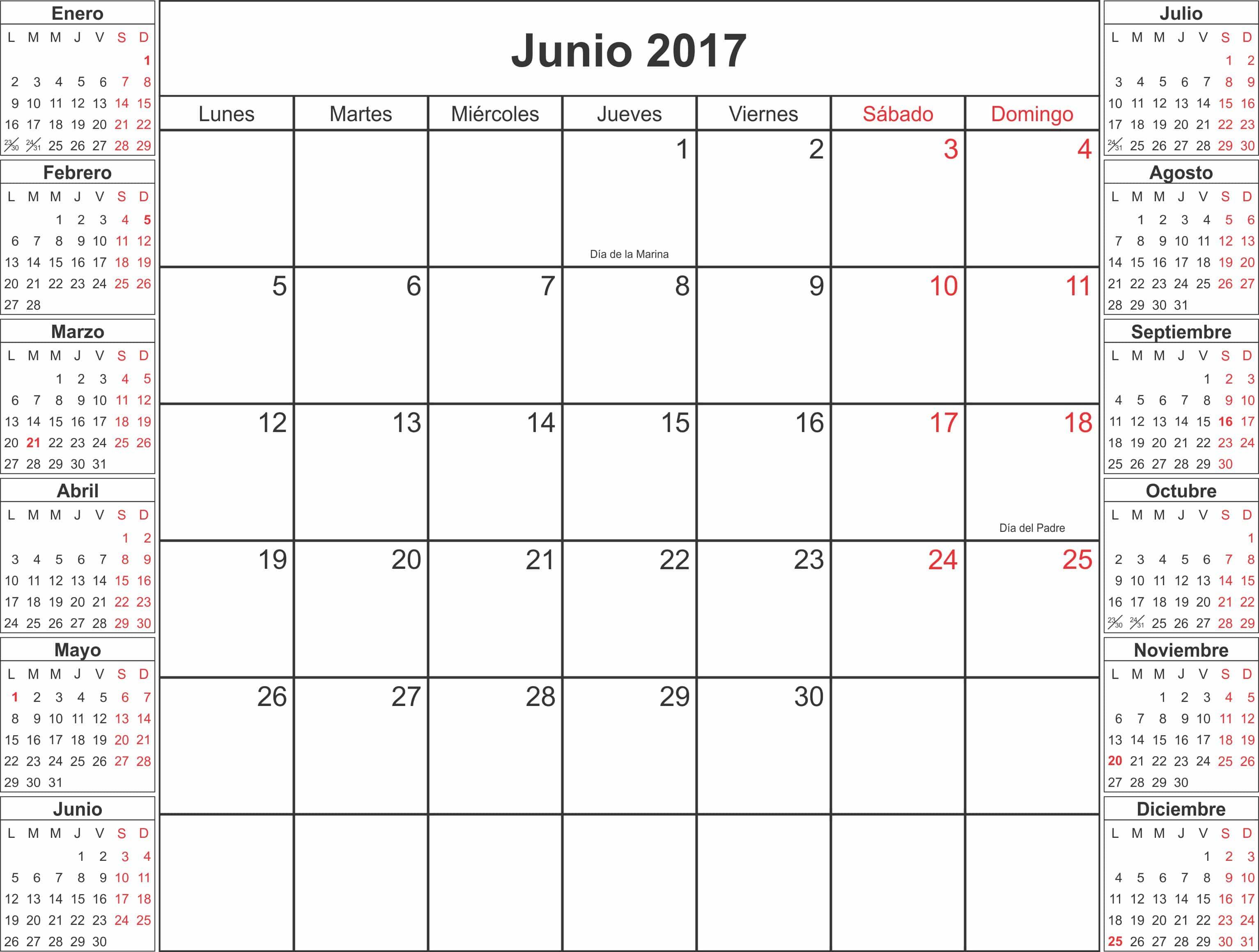 Online June 2017 Calendar Spanish