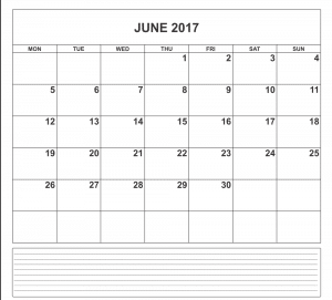 Online June 2017 Calendar With Notes