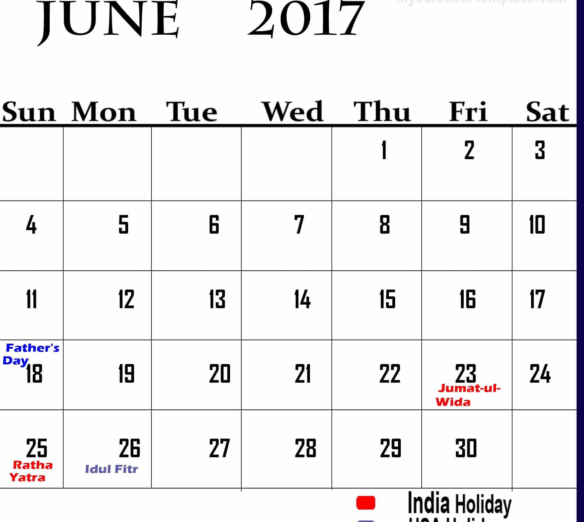 Online June 2017 calendar