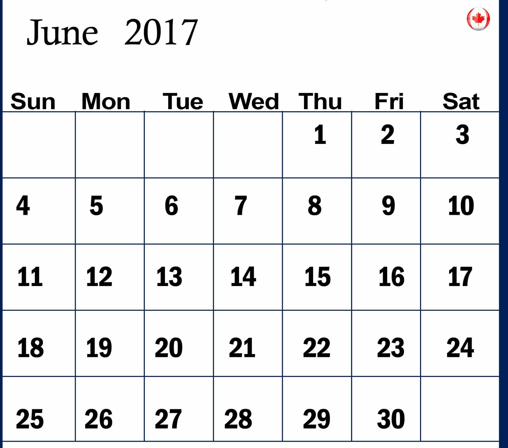 Online June 2017 calendar Canada