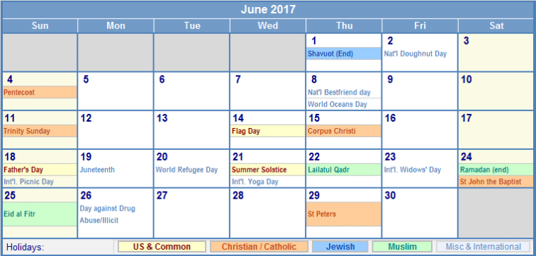 Online June Calendar 2017 In UK