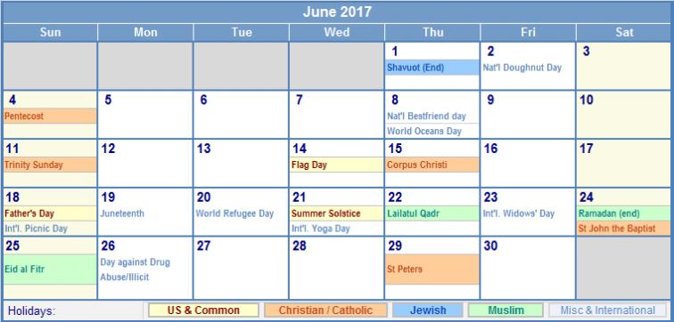Online June Calendar 2017 In UK