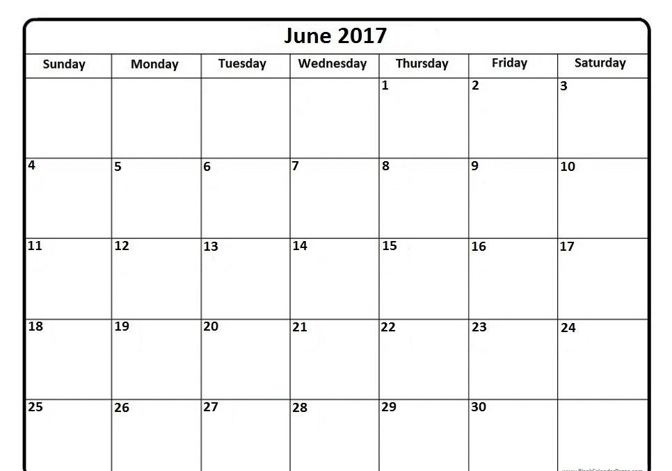 Online Monthly Calendar June 2017