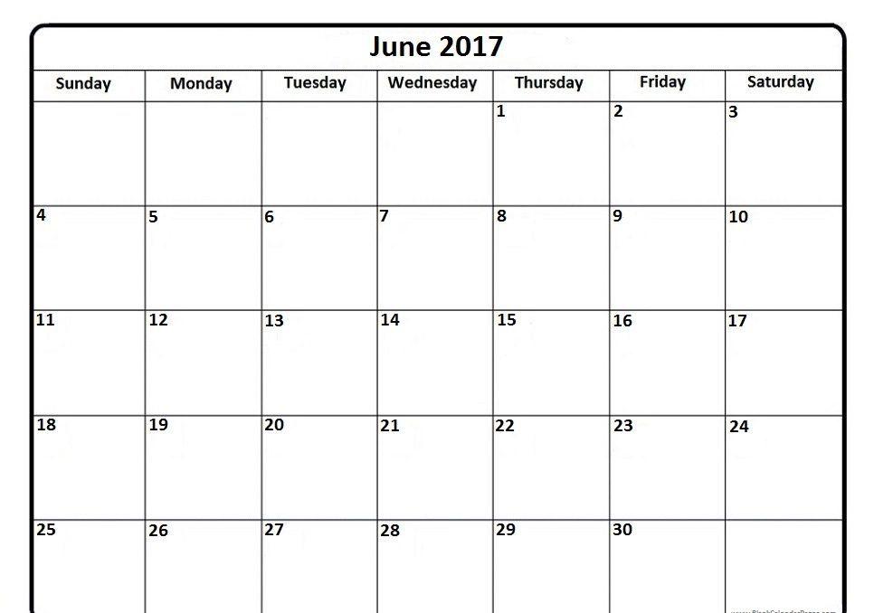 Online Monthly Calendar June 2017