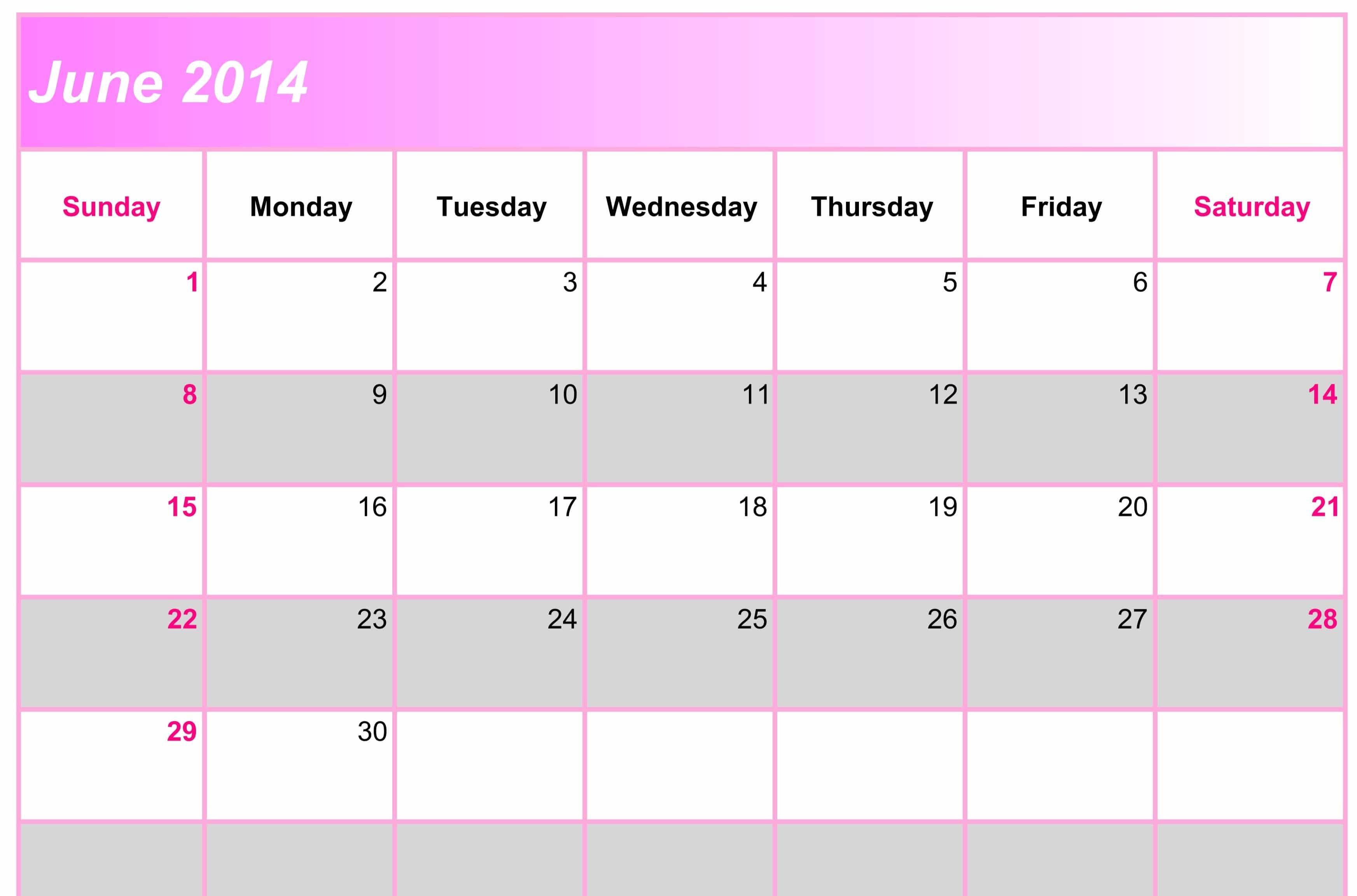Online Printable June Calendar for 2017